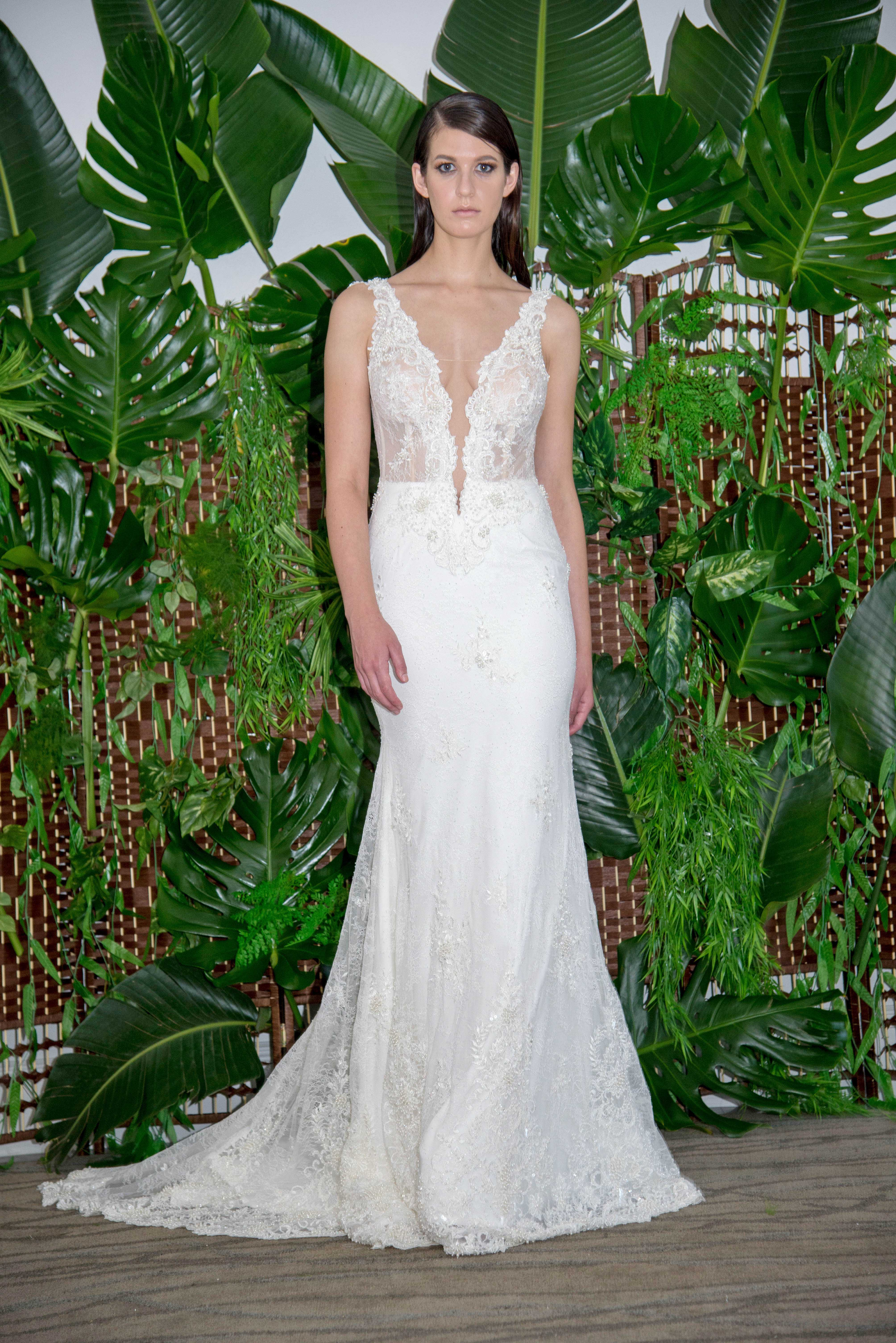 persy plunging neckline with straps trumpet wedding dress fall 2018