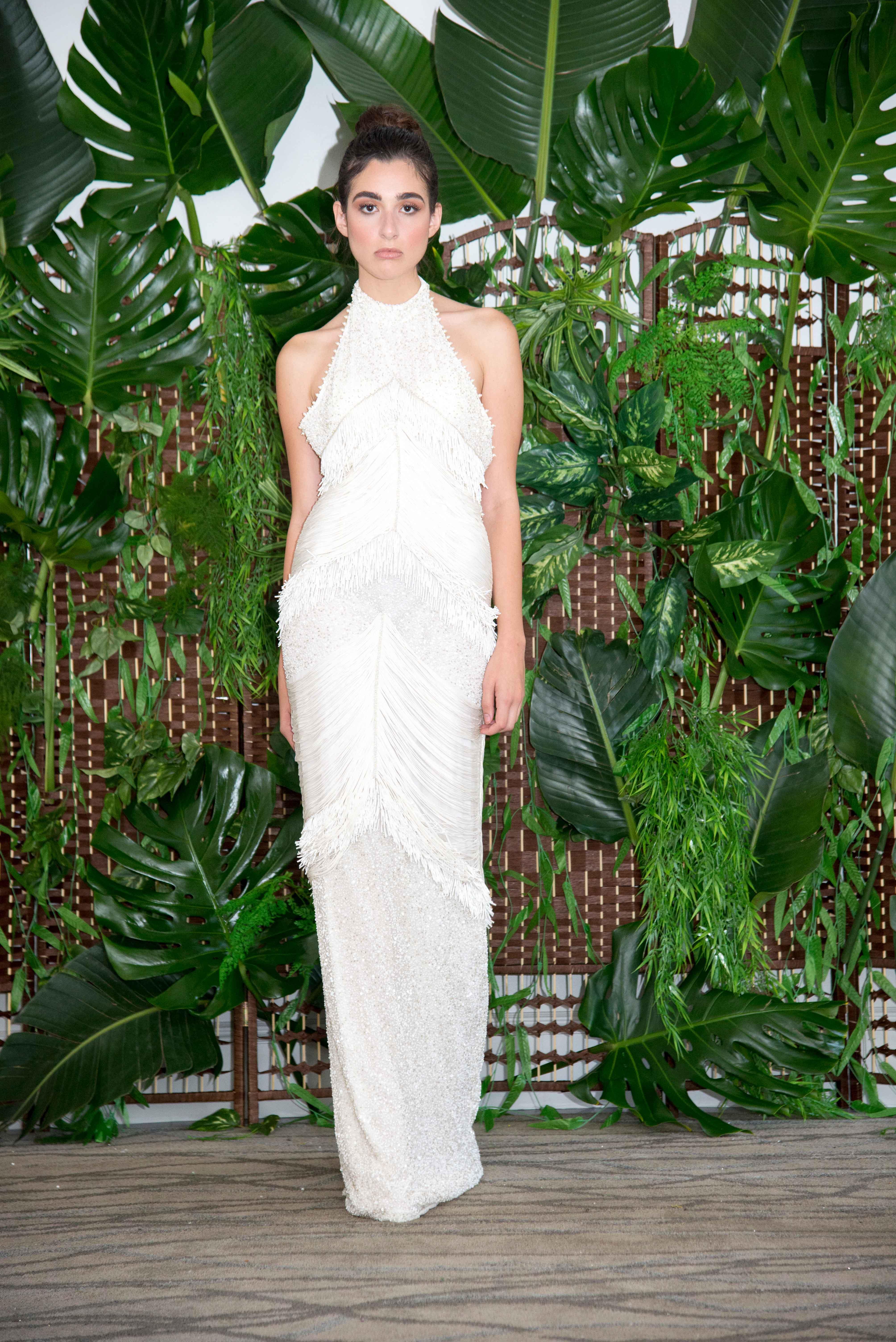 persy sheath wedding dress with fringe fall 2018