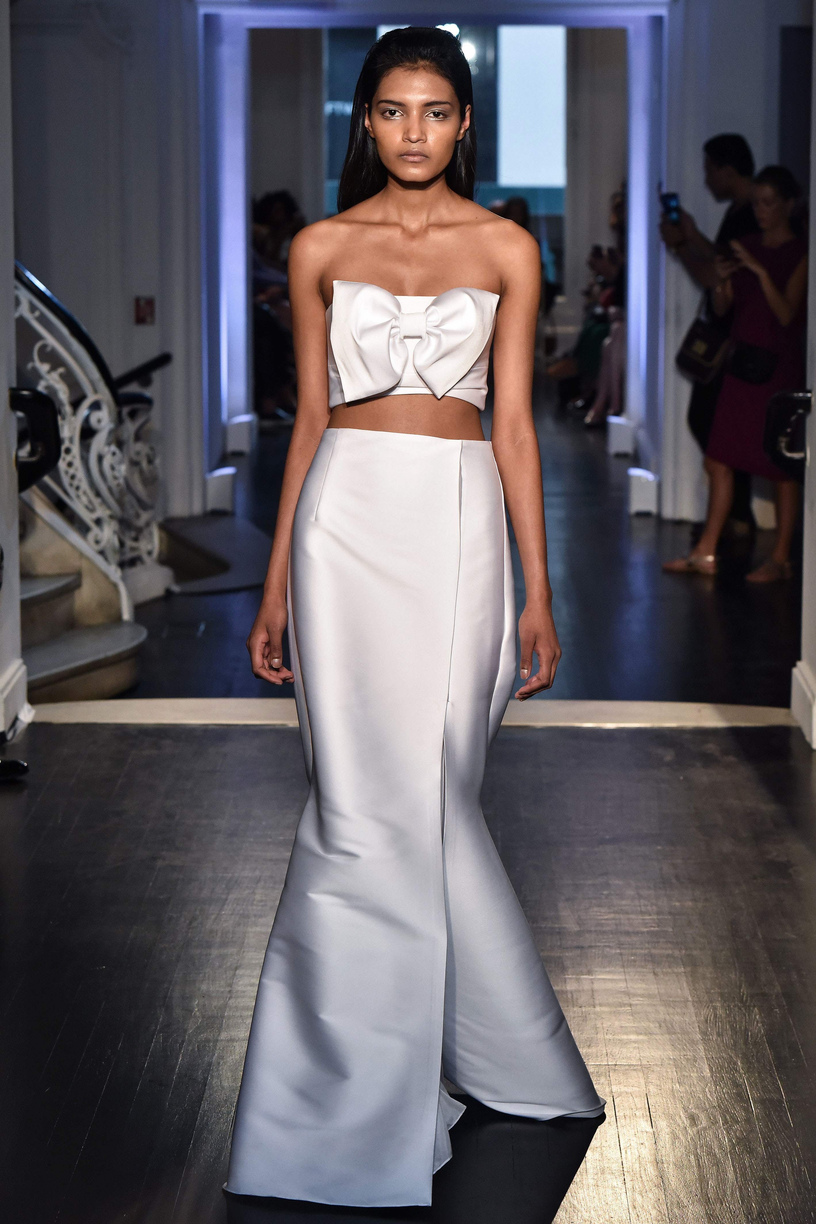 lakum wedding dress fall 2018 two piece crop bow trumpet