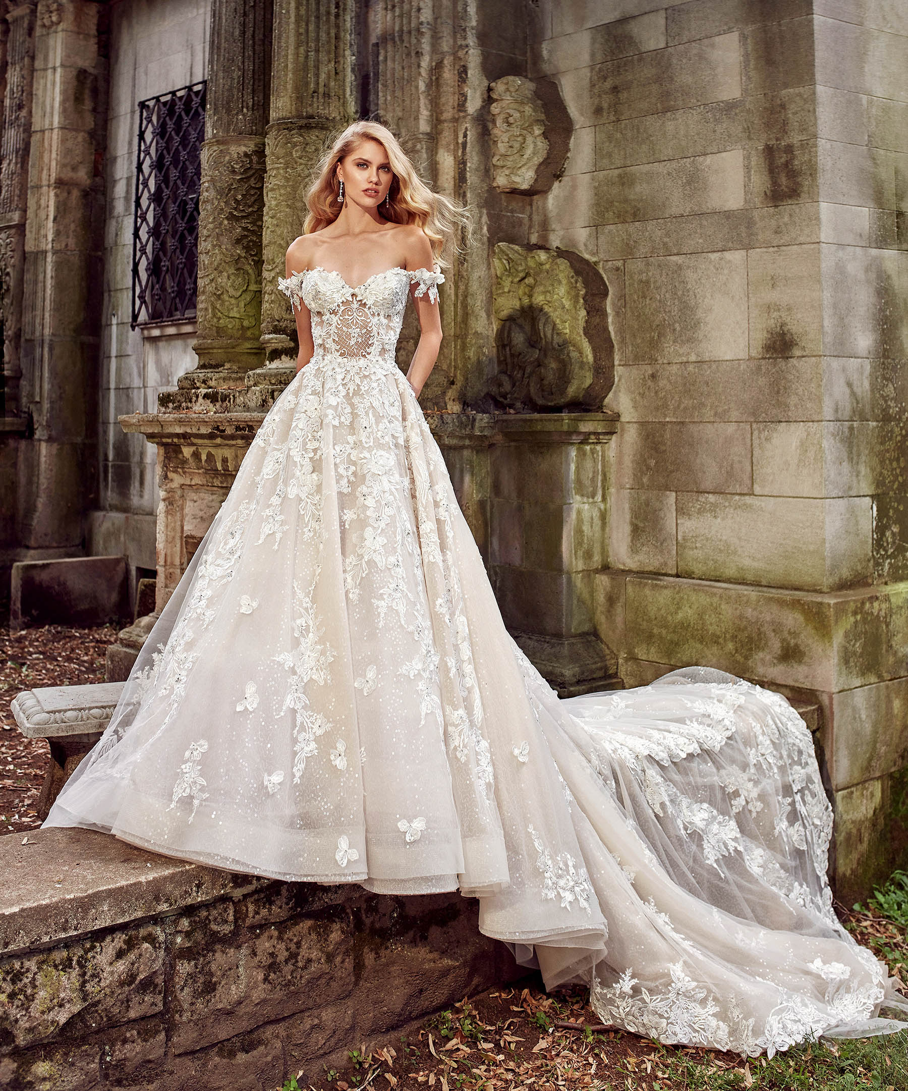 eve of milady off-the-shoulder a-line with train wedding dress fall 2018