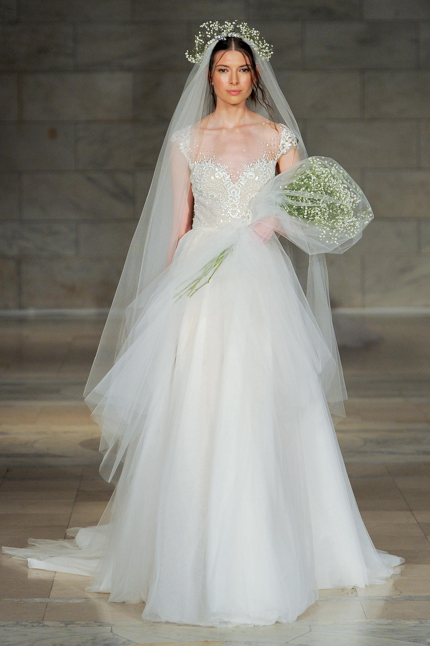 reem acra bridal market wedding dress fall 2018 tulle sweetheart