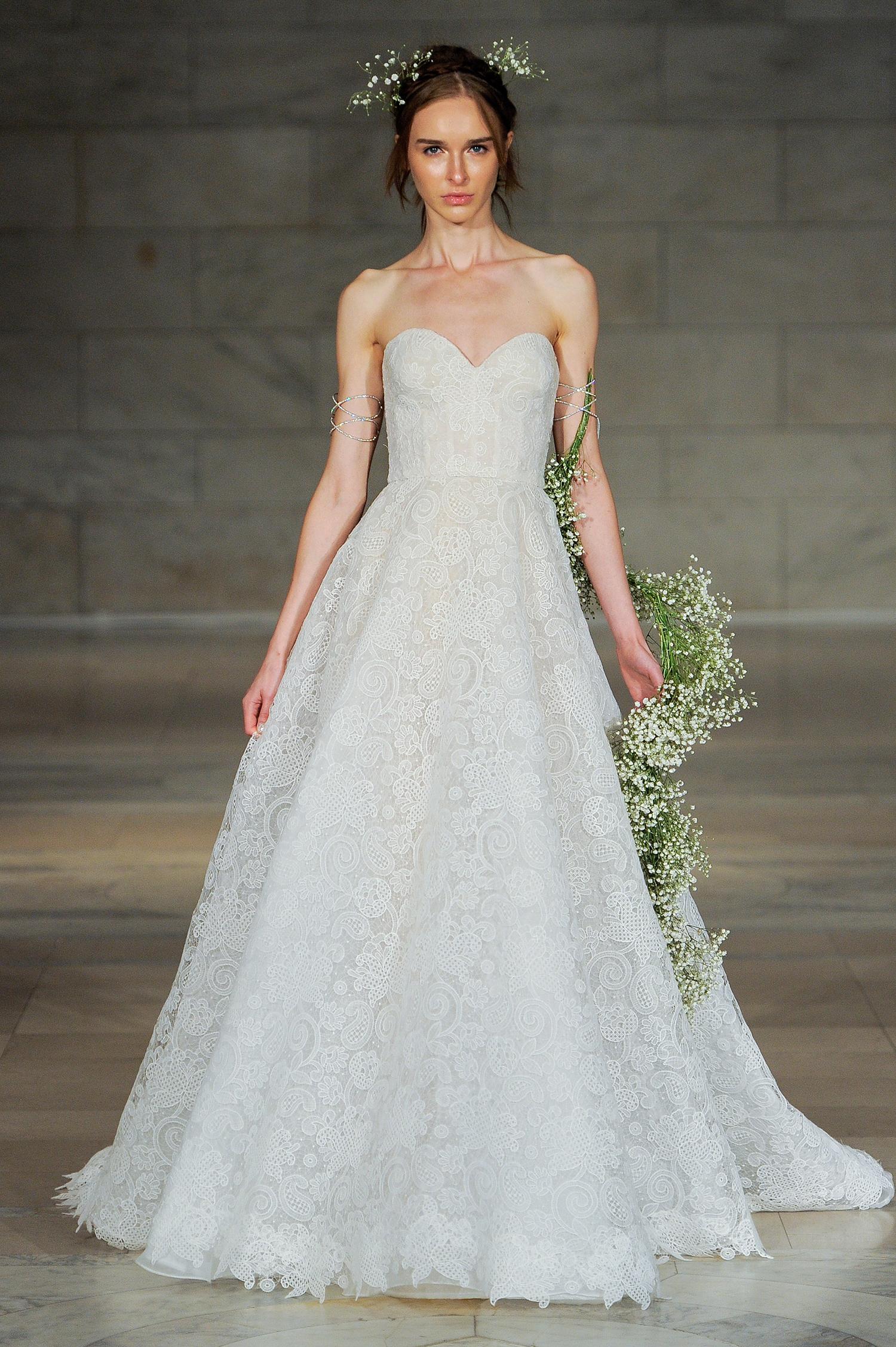 reem acra bridal market wedding dress fall 2018 sweetheart strapless a-line