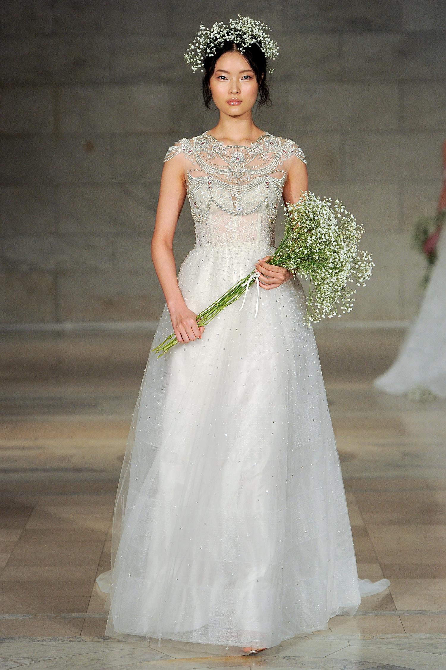 reem acra bridal market wedding dress fall 2018 high neck a-line