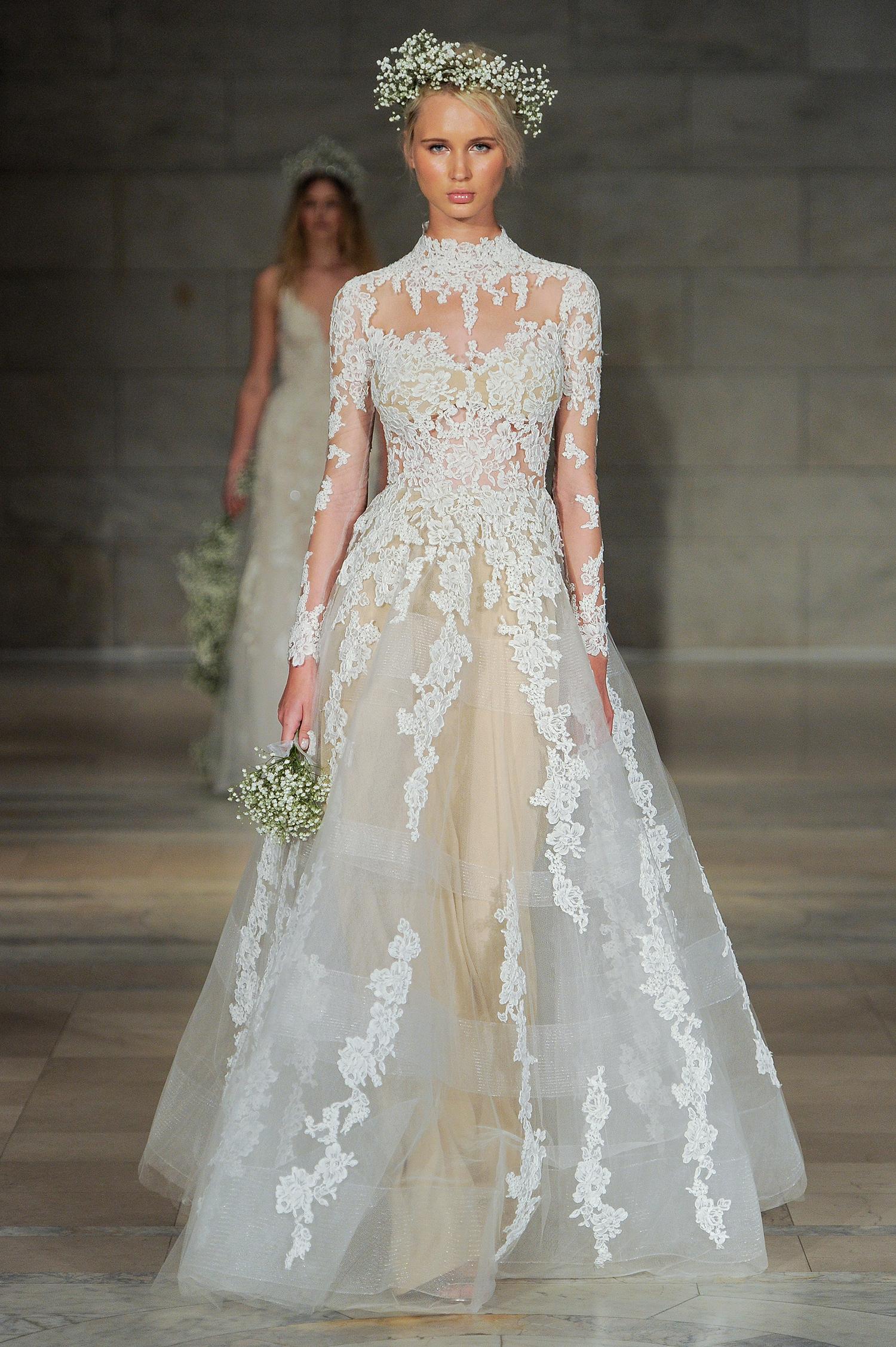 reem acra bridal market wedding dress fall 2018 high neck long sleeve