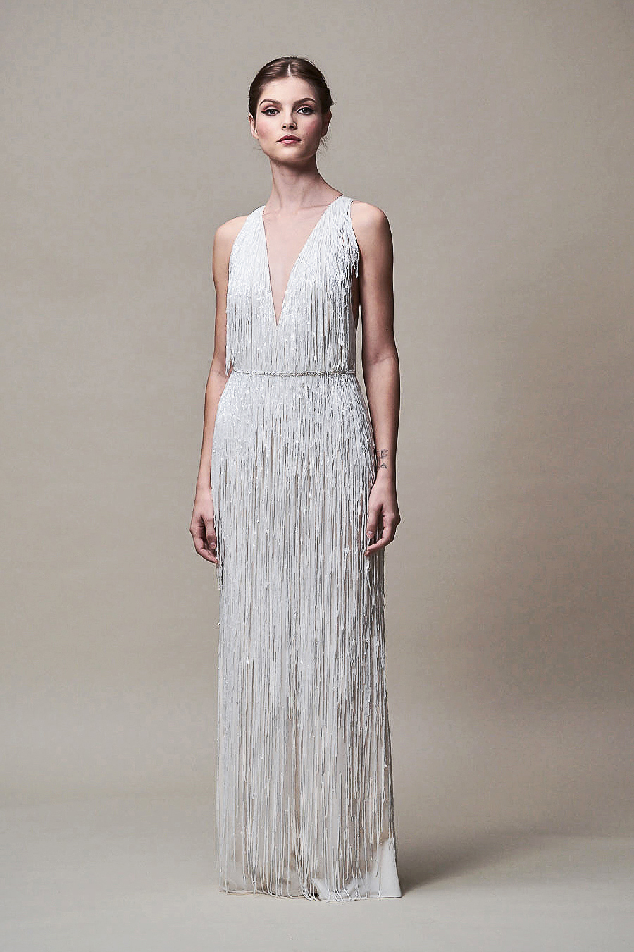 jenny yoo dress fall 2018 v-neck sleeveless fringe