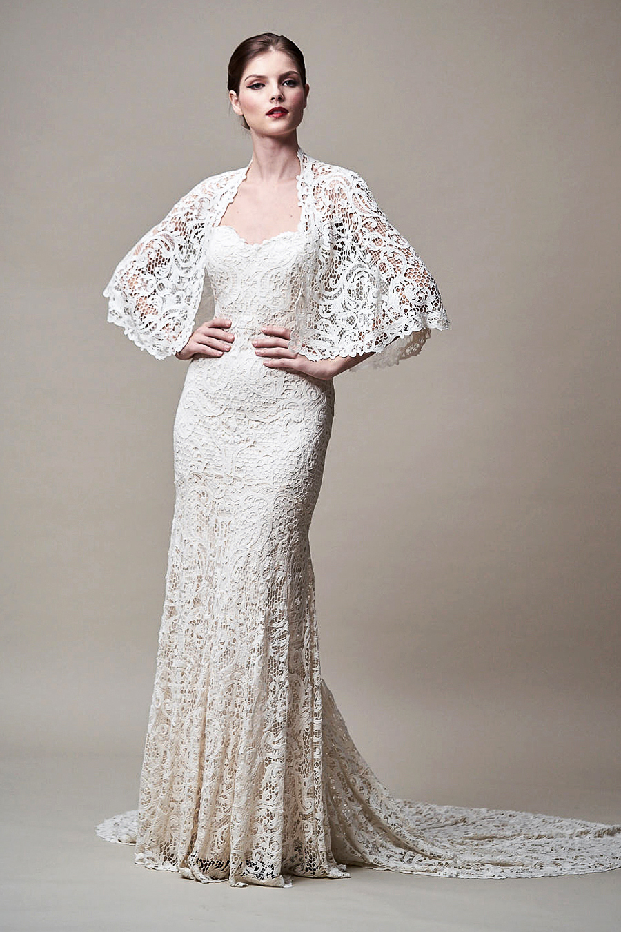 jenny yoo dress fall 2018 capelet lace sweetheart