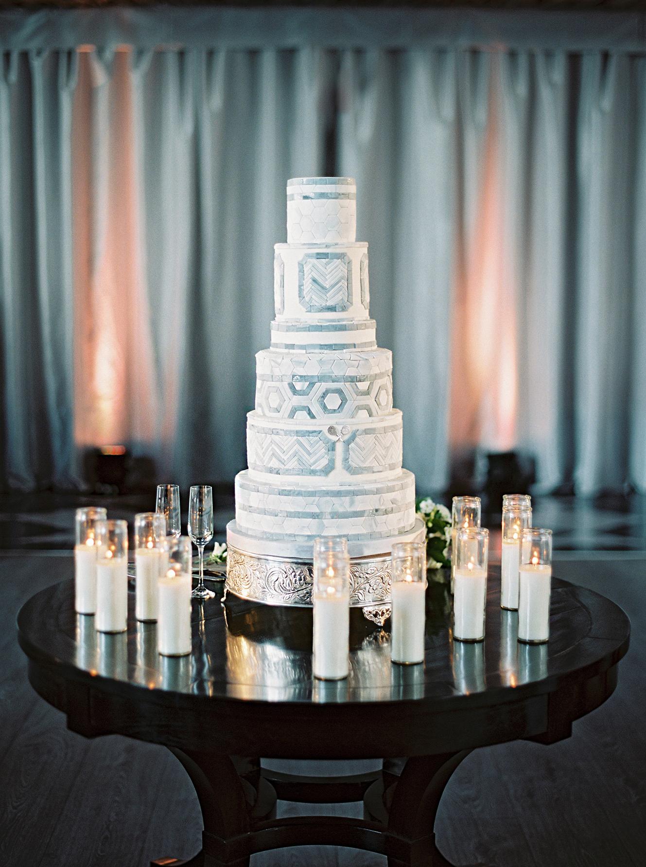 stephanie matt wedding cake and candles