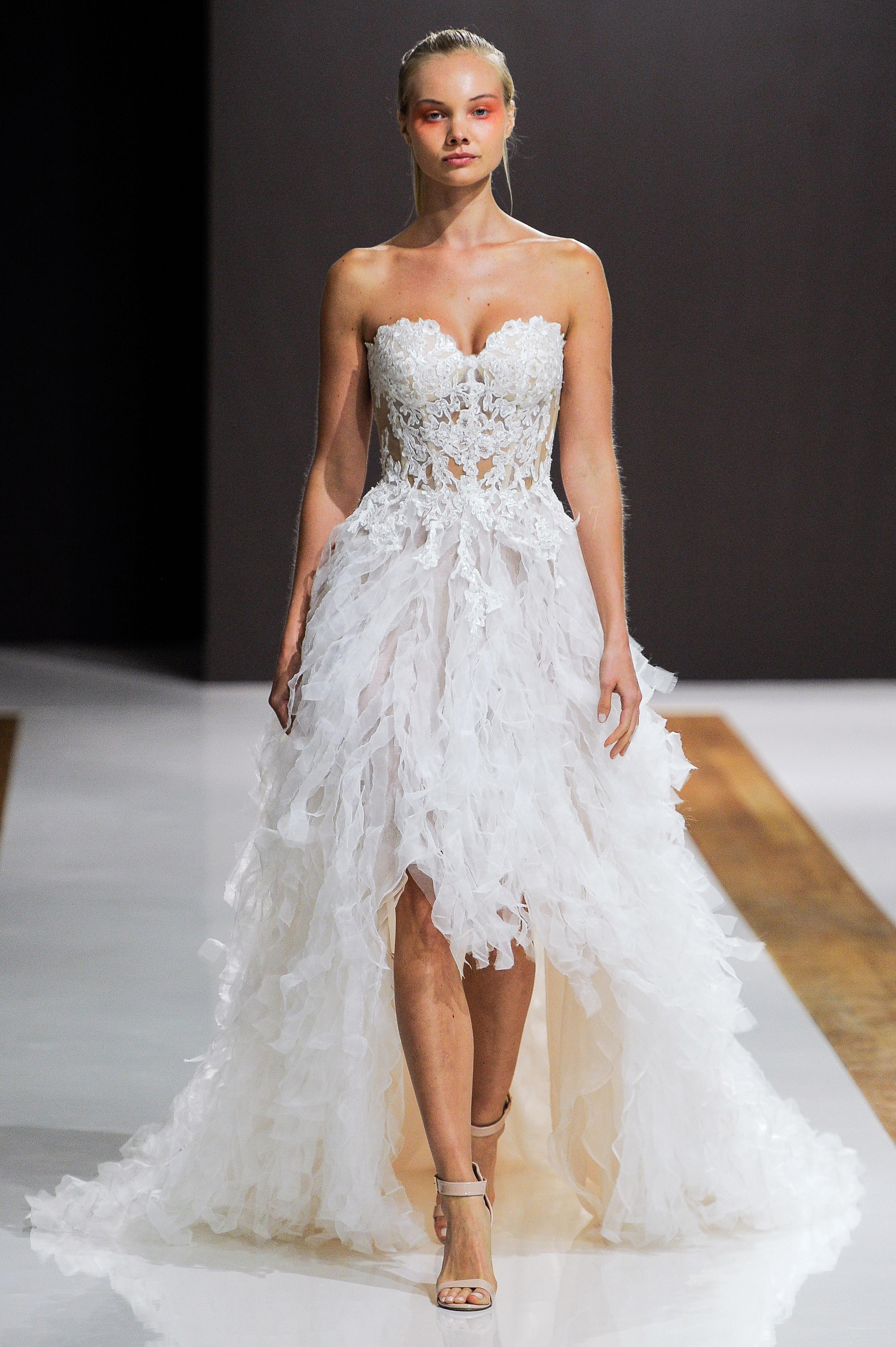 mark zunino wedding dress fall 2018 strapless high-low textured