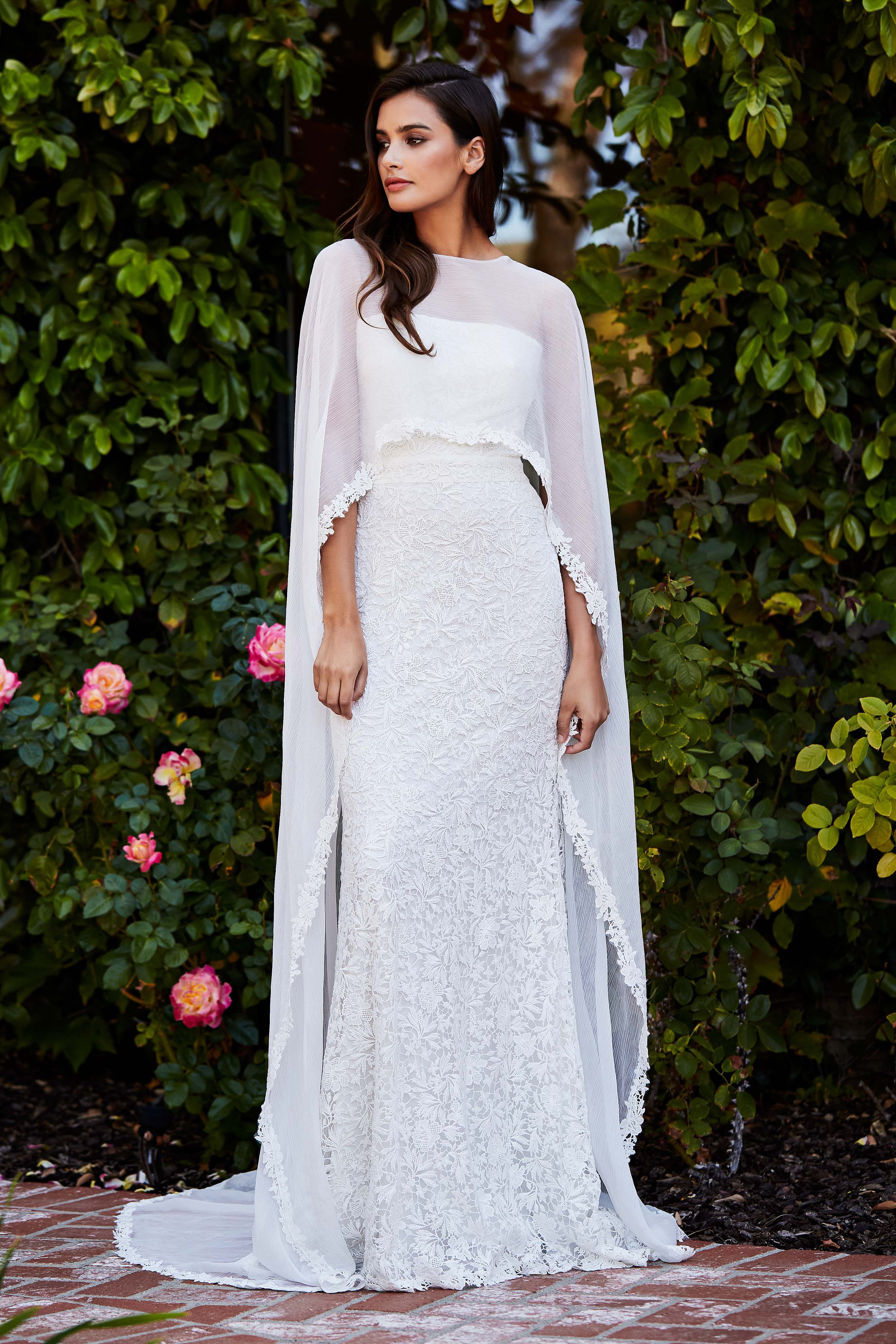 tadashi shoji wedding dress fall 2018 lace embroidered cape