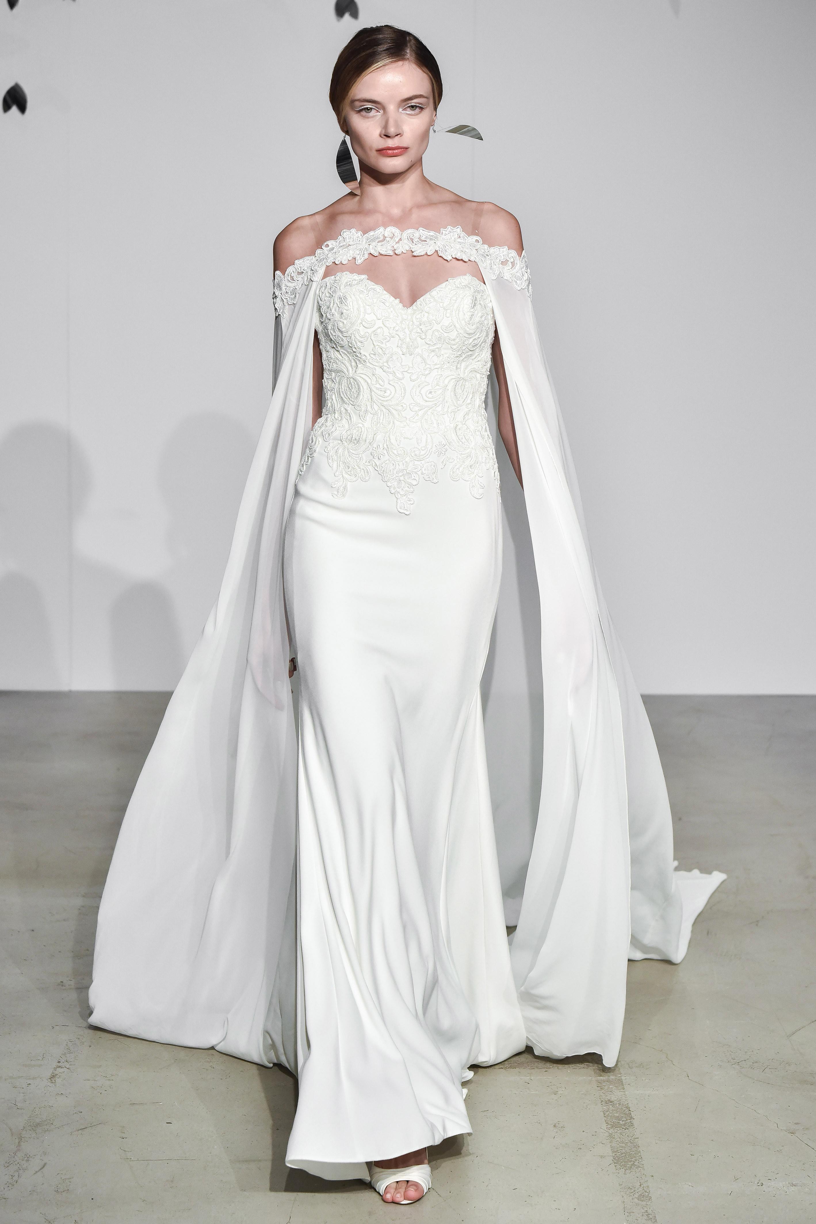 justin alexander fall 2018 sweetheart cape wedding dress