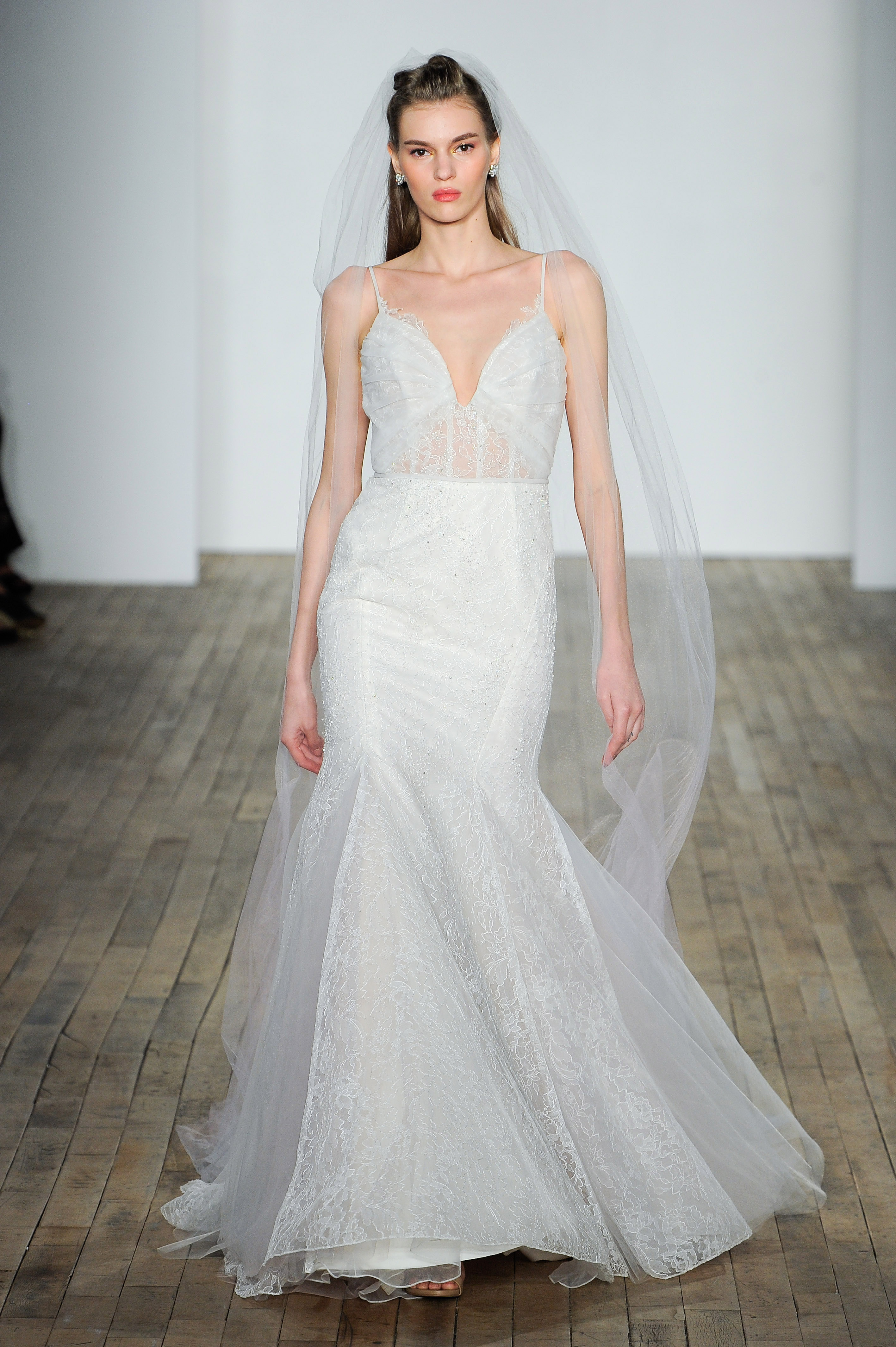 hayley paige fall 2018 spaghetti trumpet wedding dress