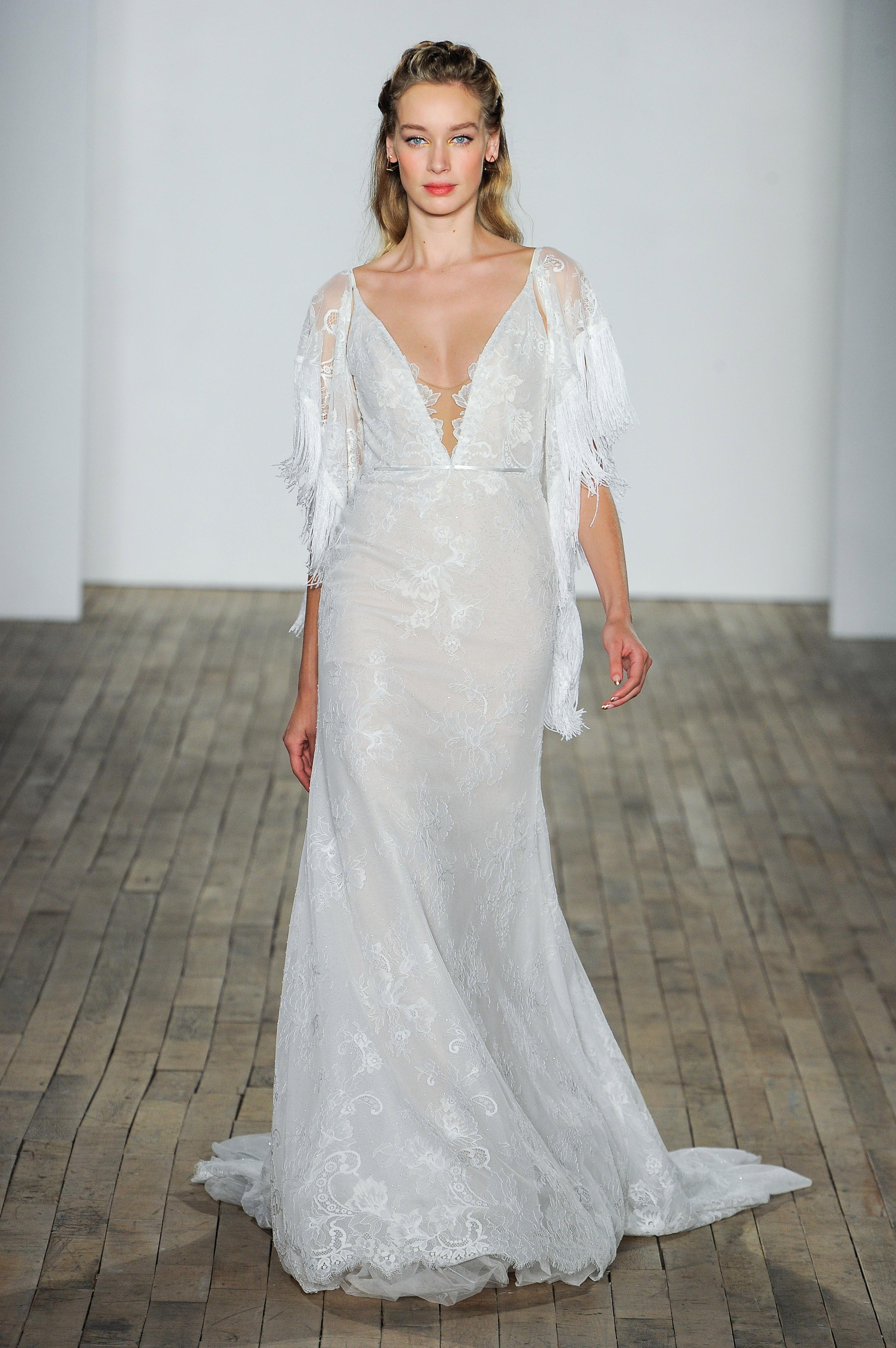 hayley paige fall 2018 v-neck long sleeve wedding dress