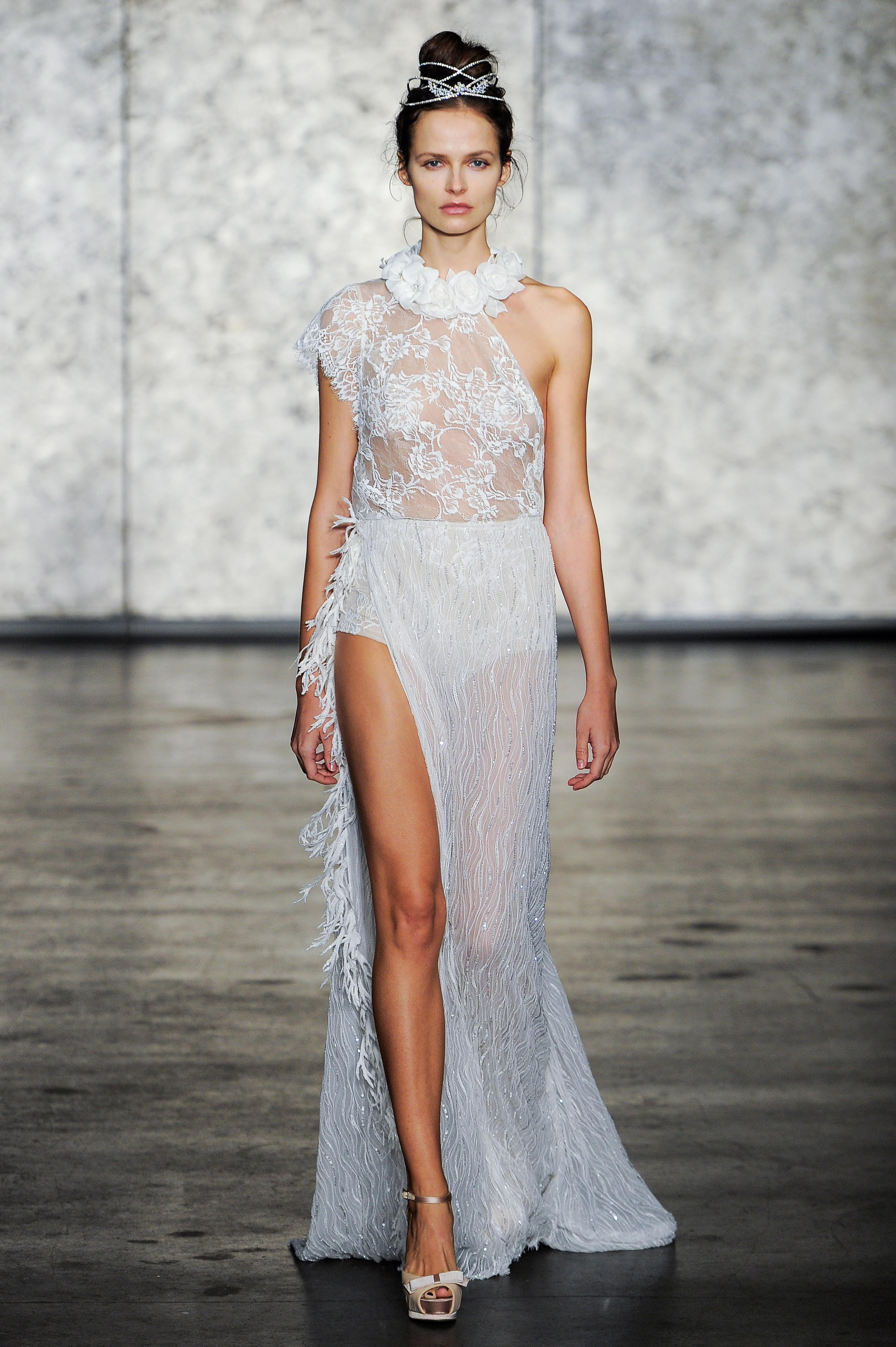 inbal dror fall 2018 sheer floral collar wedding dress