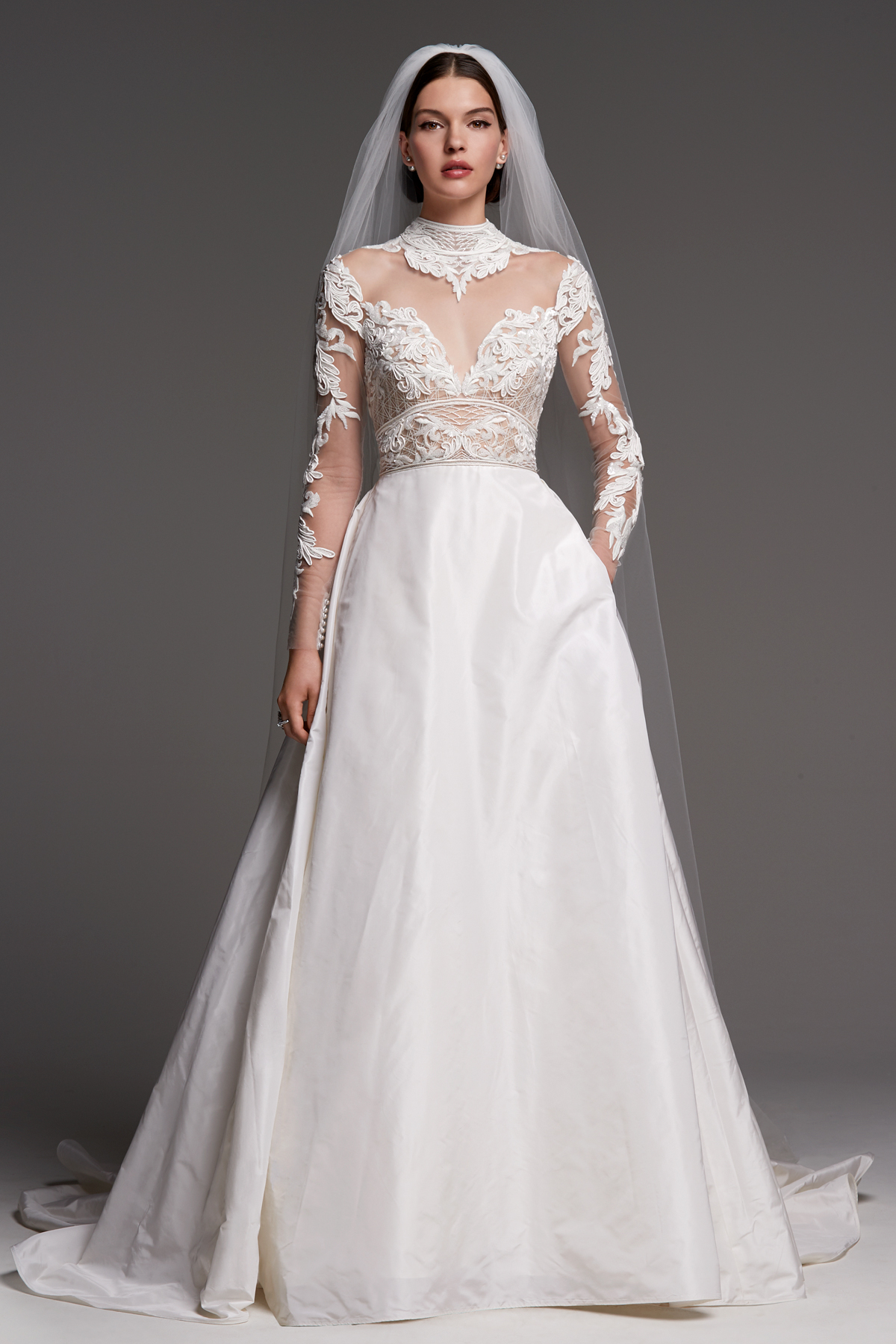 watters wedding dress fall 2018 high neck long sleeve illusion