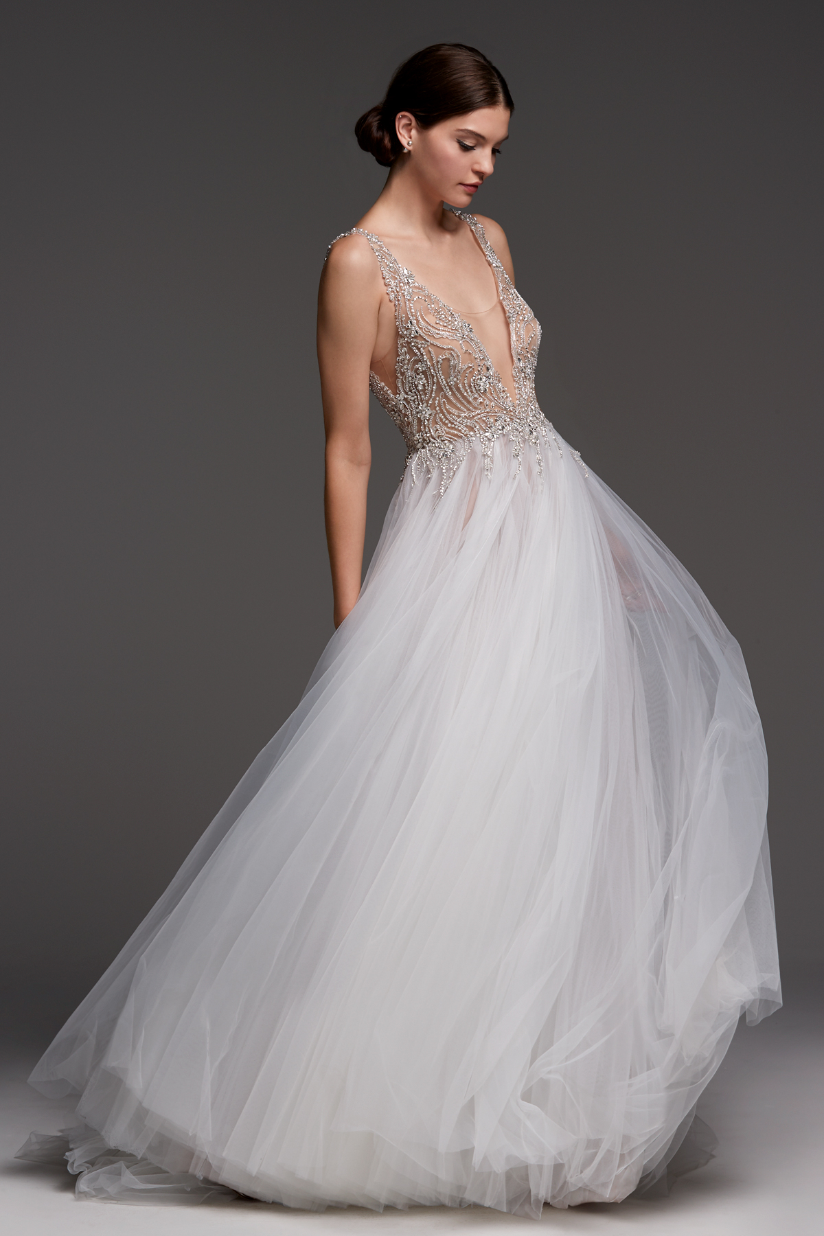 watters wedding dress fall 2018 v-neck embellished tulle