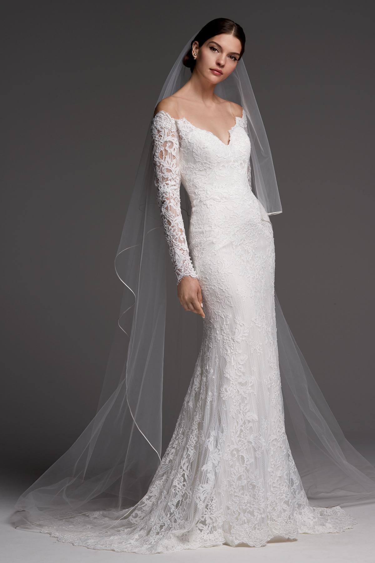 watters wedding dress fall 2018 v-neck long sleeve