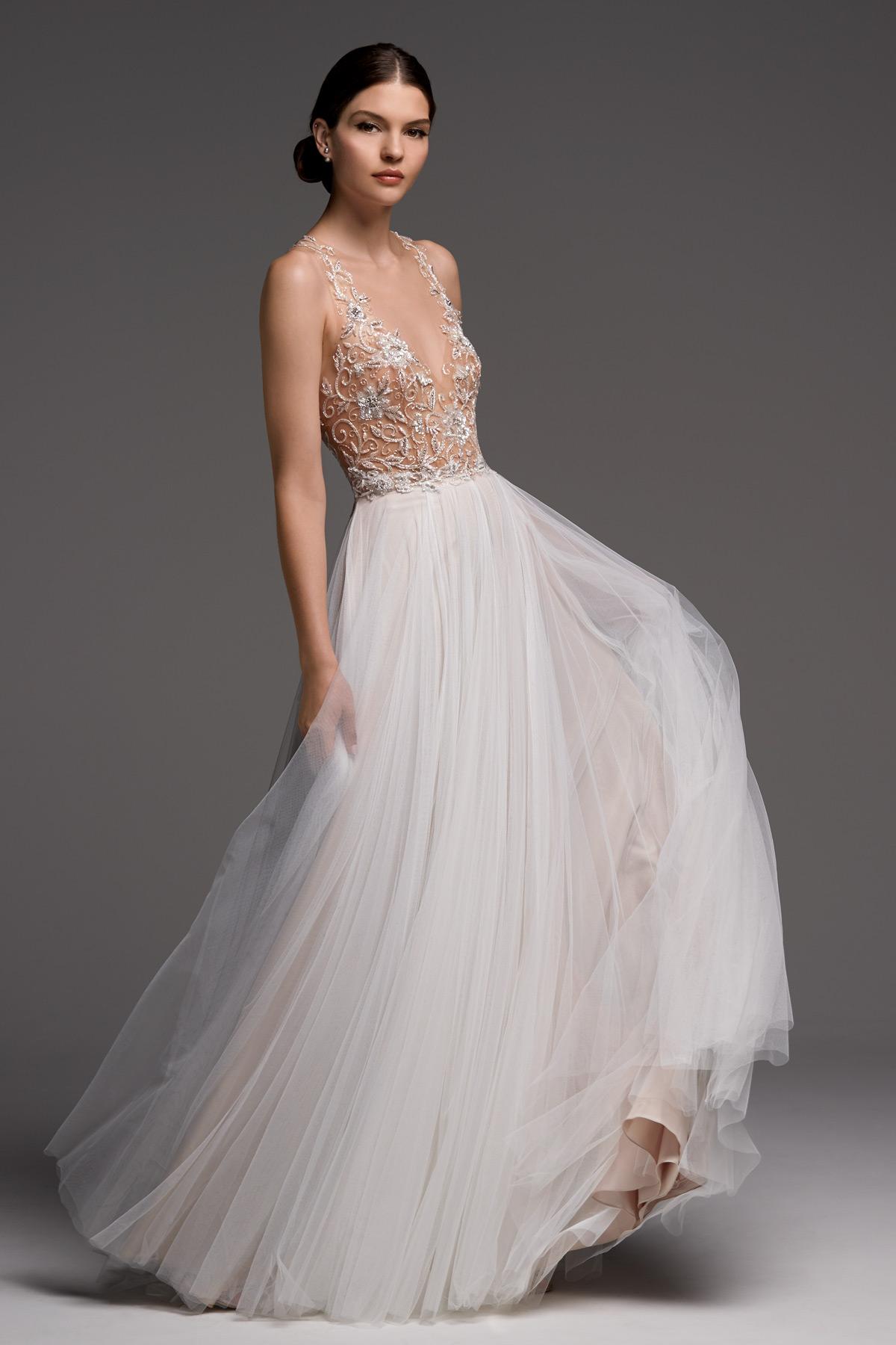 watters wedding dress fall 2018 v-neck tulle