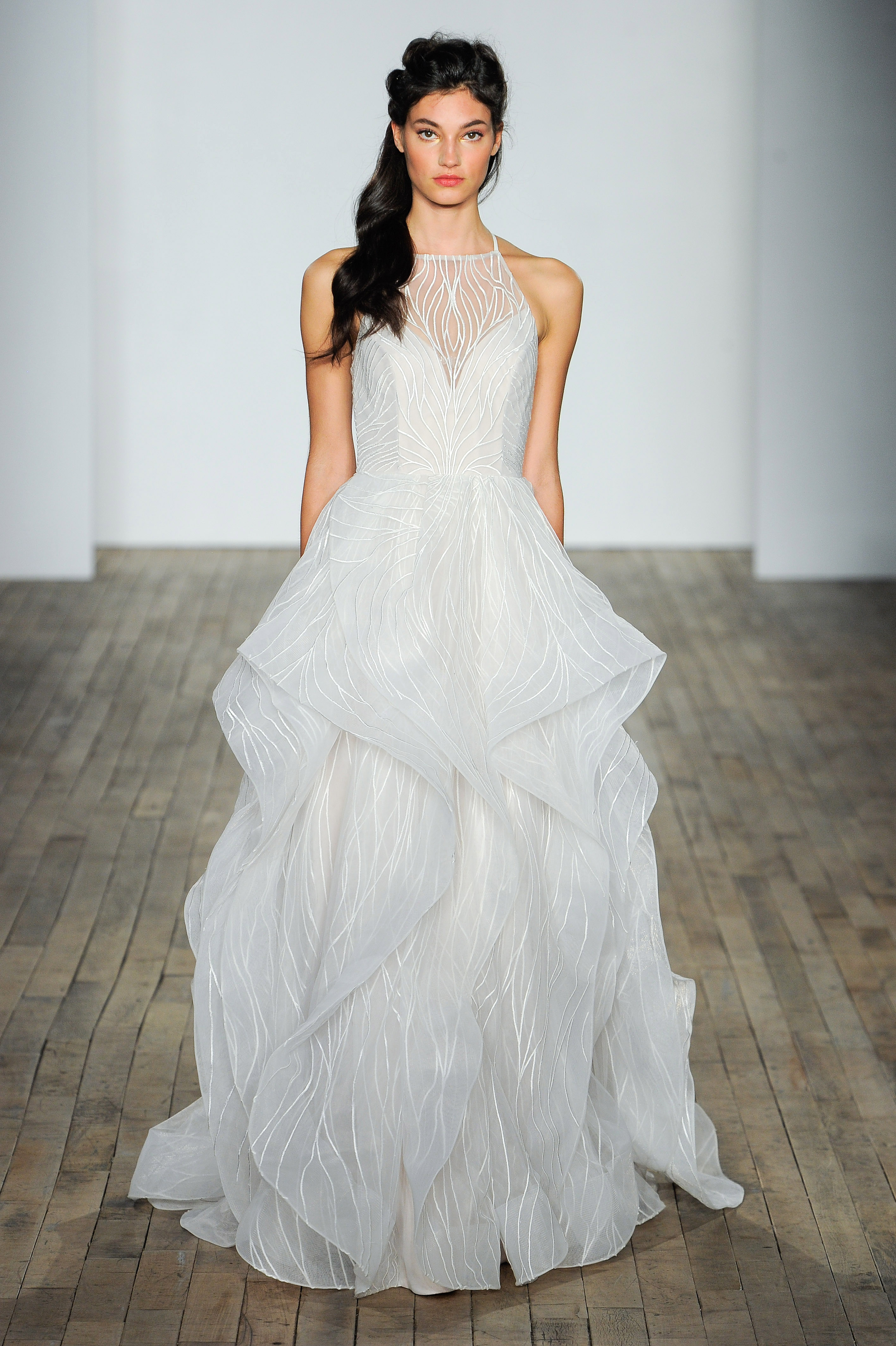 hayley paige fall 2018 halter layered wedding dress