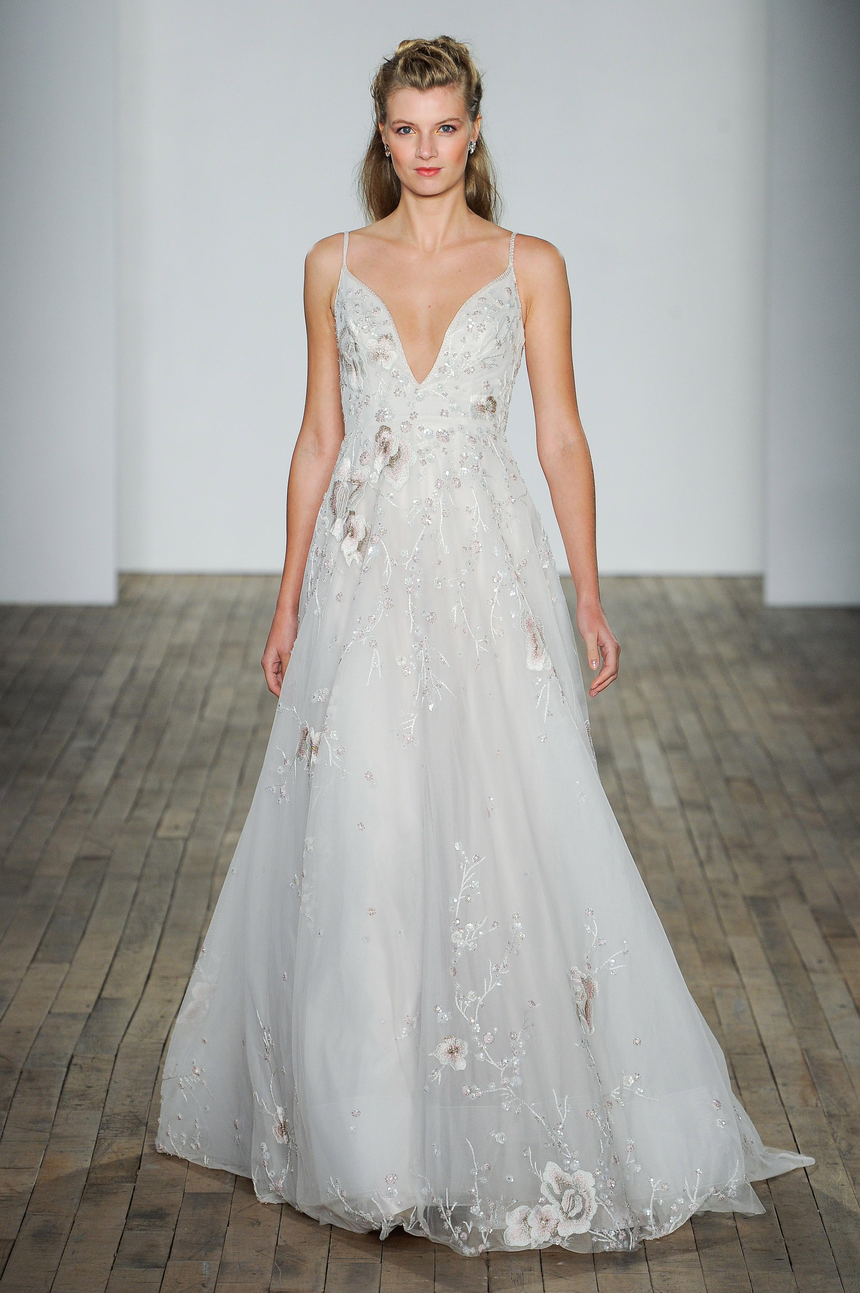 hayley paige fall 2018 v-neck floral a-line wedding dress