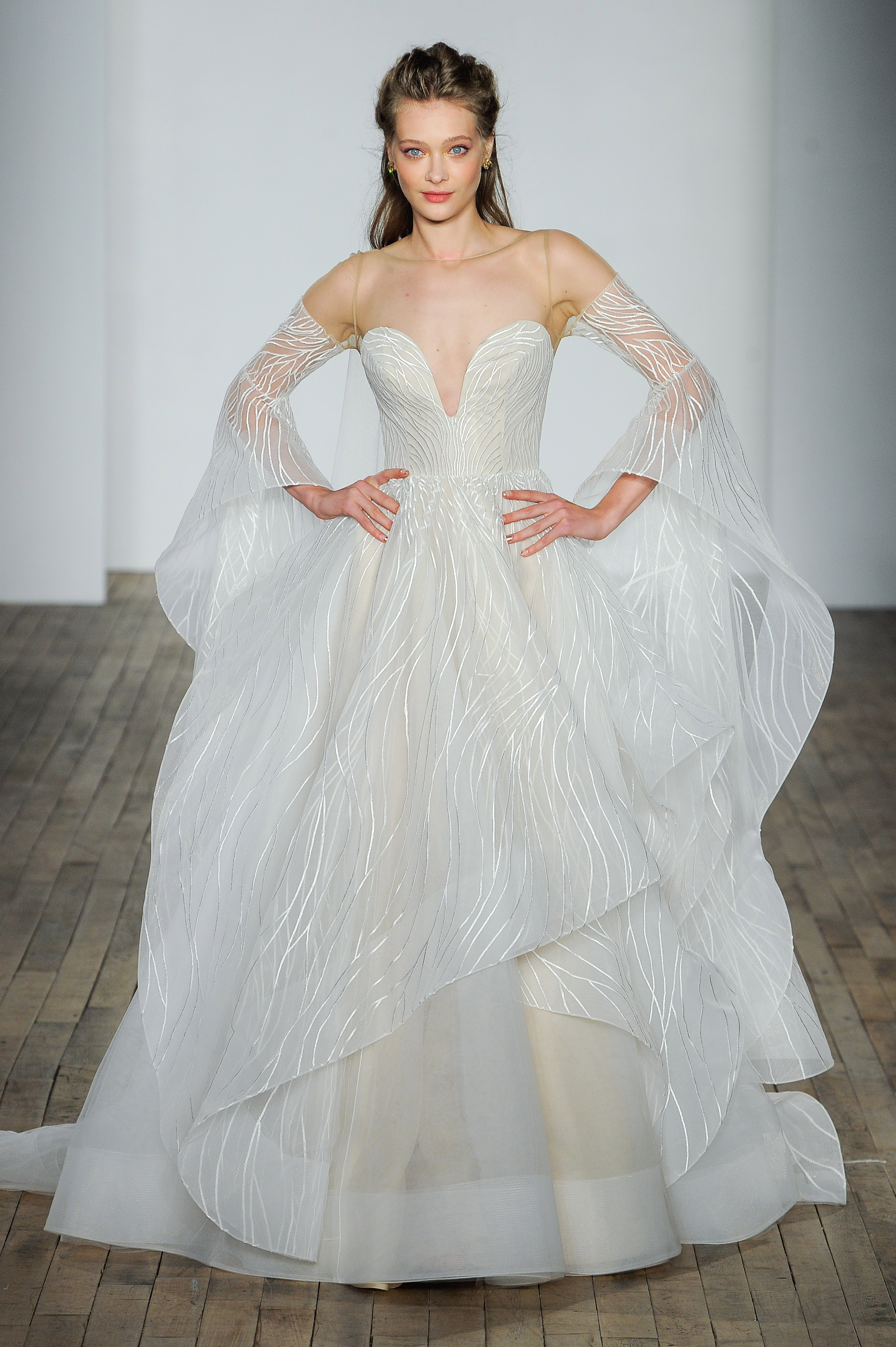 hayley paige fall 2018 overlay long sleeve wedding dress