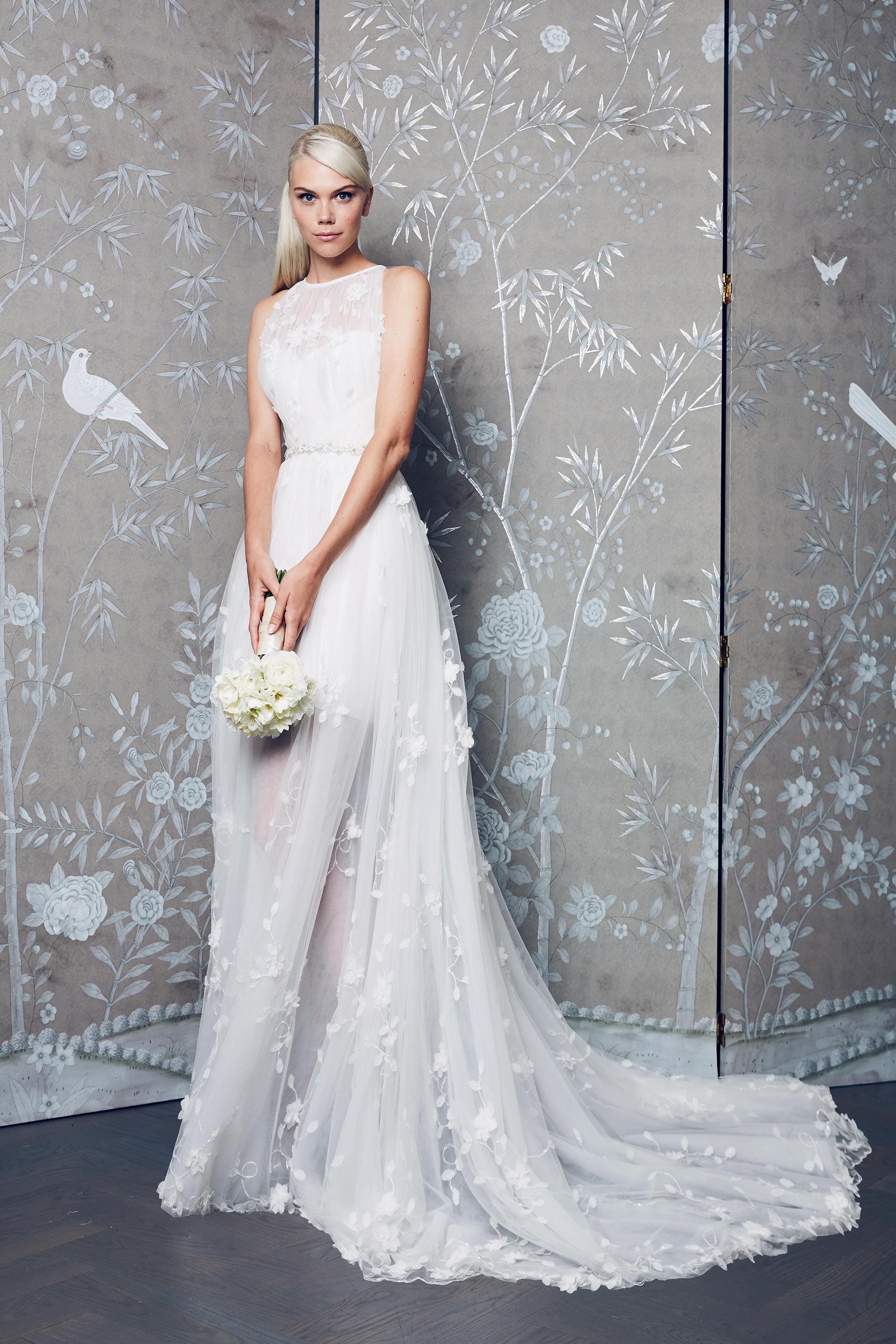 Legends Romona Keveza Sheer Train Wedding Dress Fall 2018