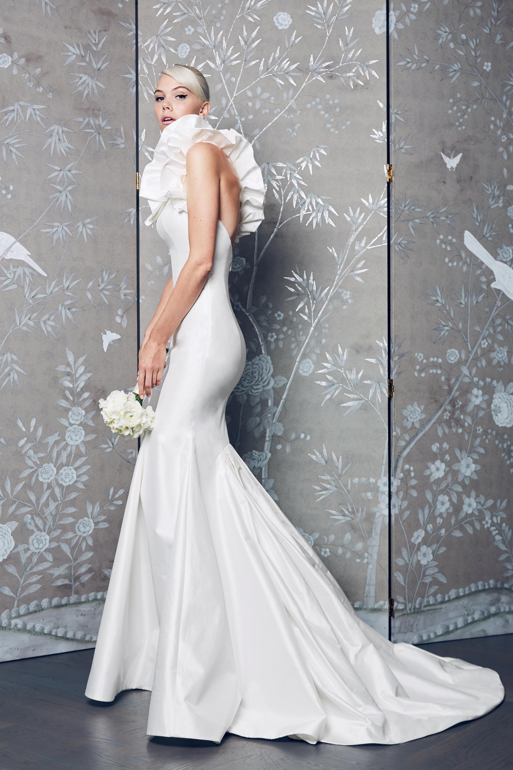Legends Romona Keveza Trumpet with Ruffled Shoulders Wedding Dress Fall 2018