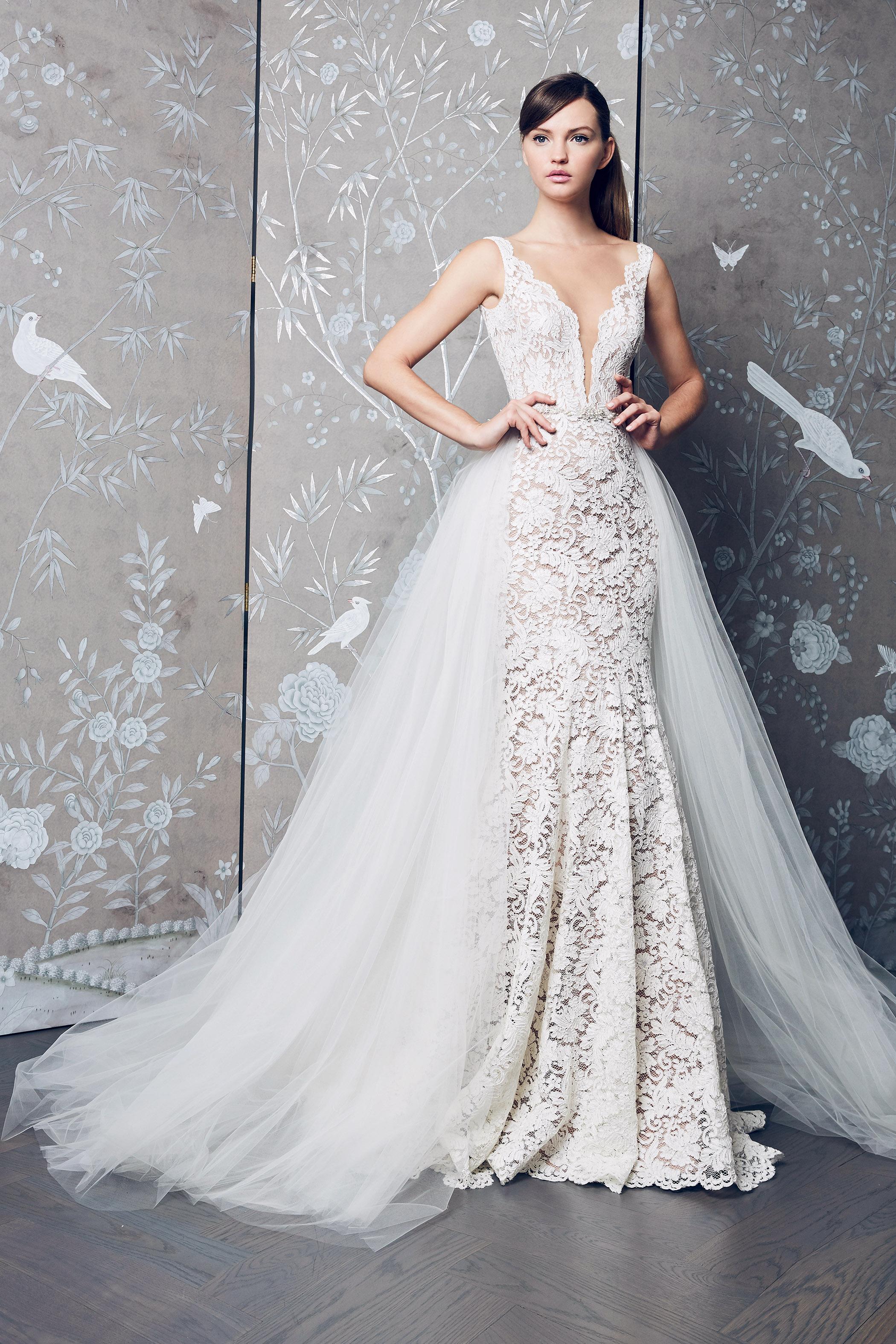 Legends Romona Keveza Embellished V-Neck with Train Wedding Dress Fall 2018