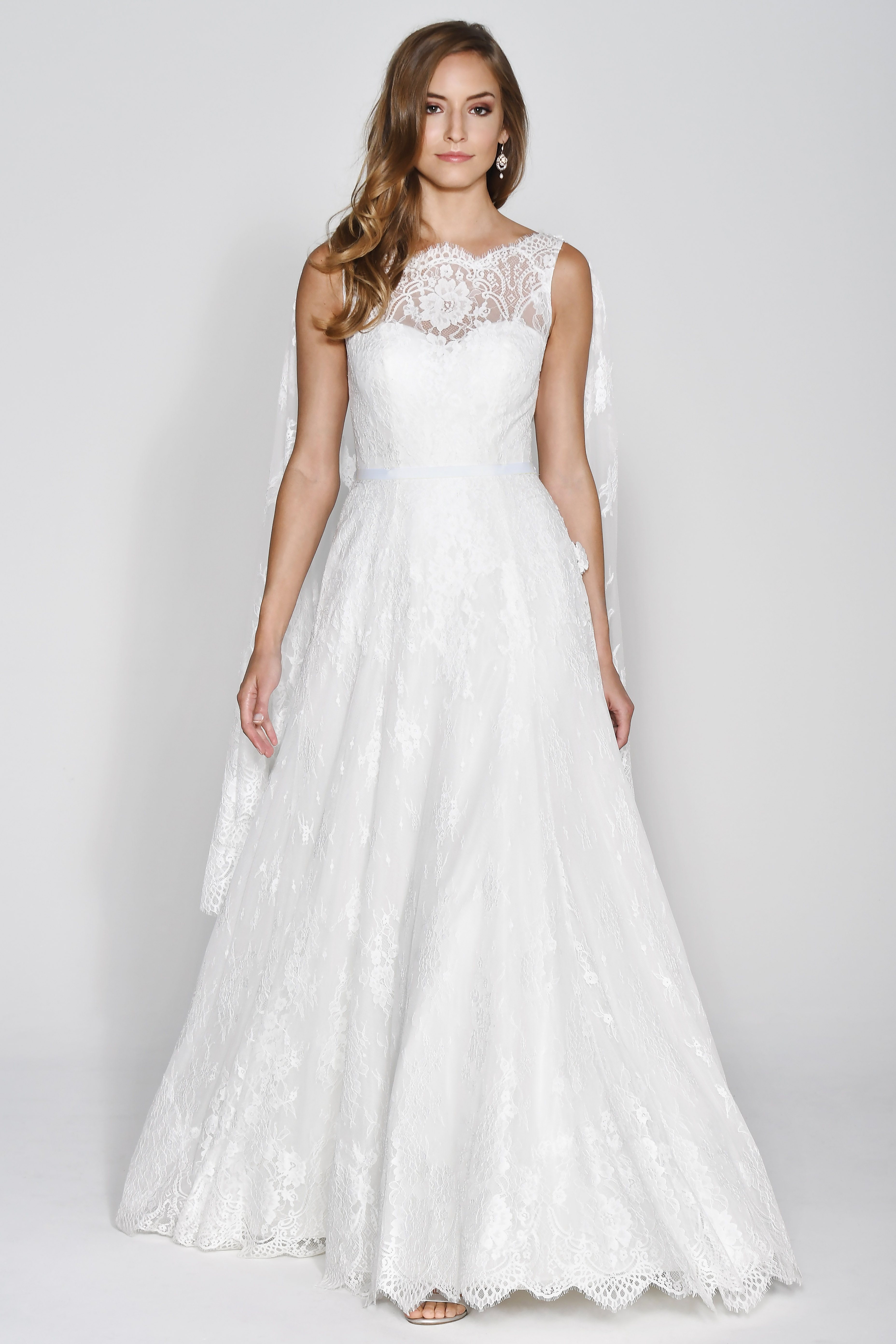 Wtoo by Watters Lace Sweetheart with Cape Wedding Dress Fall 2018