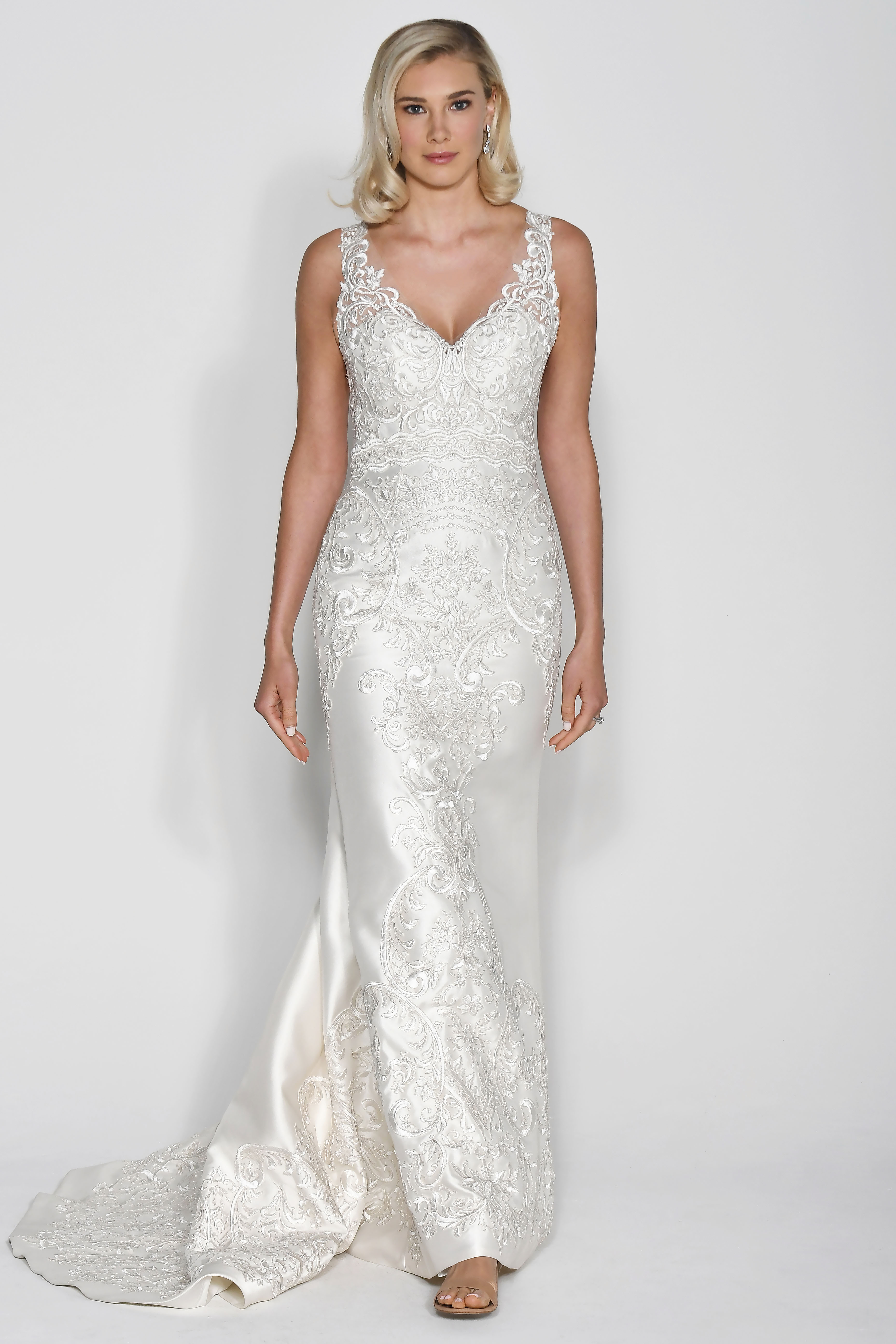 Wtoo by Watters Embellished V-Neck Sheath Wedding Dress Fall 2018