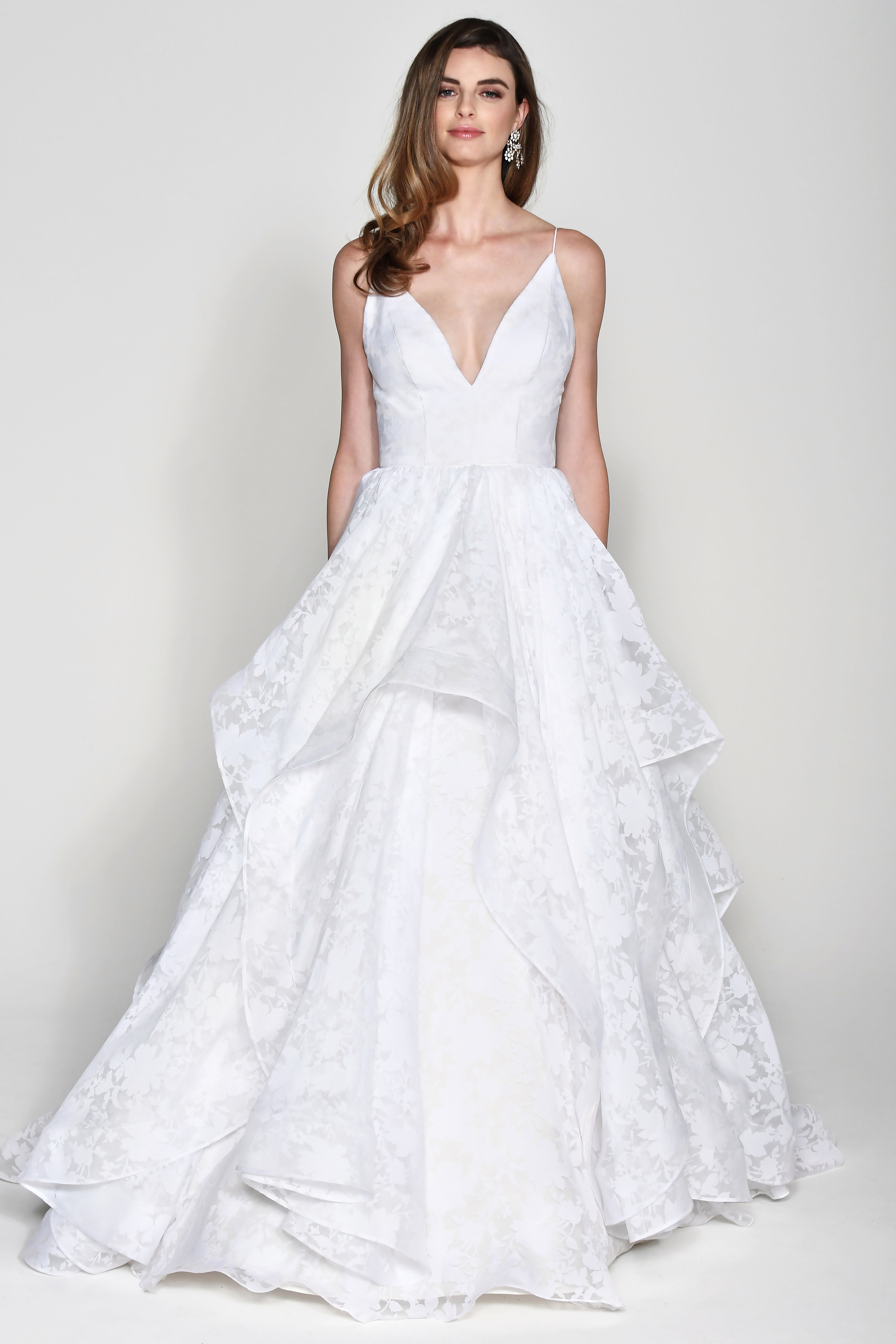 Wtoo by Watters V-Neck Spaghetti Strap with Layered Skirt Wedding Dress Fall 2018