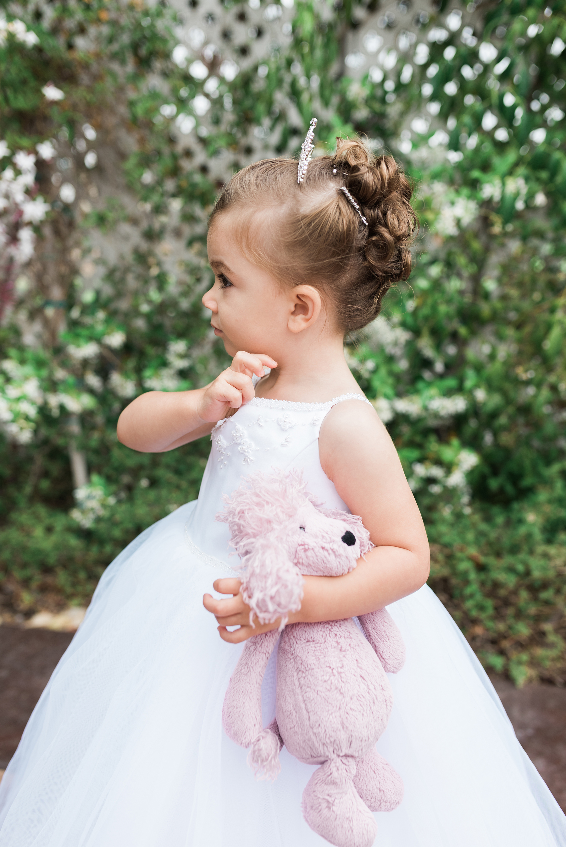 Flower Girl Hairstyle Pinned Curls with Tiara