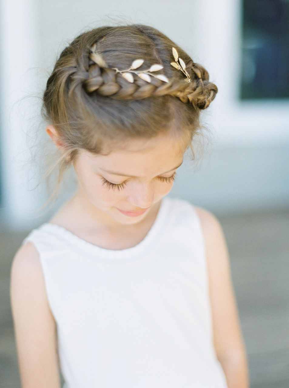 Flower Girl Hairstyle Crown Braid with Gold Leaves