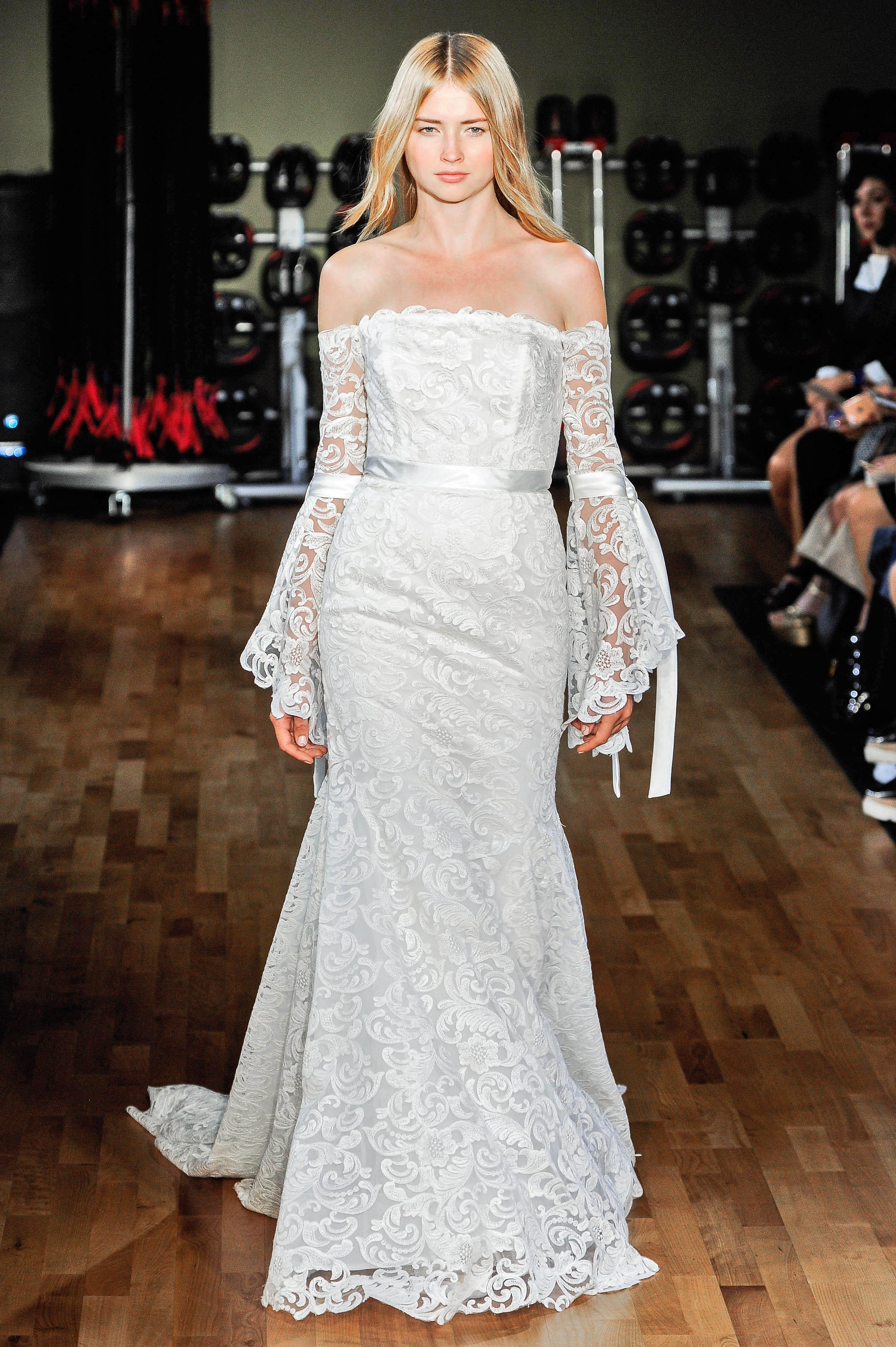 rivini by rita vinieris wedding dress fall 2018 lace off the shoulder bell sleeves
