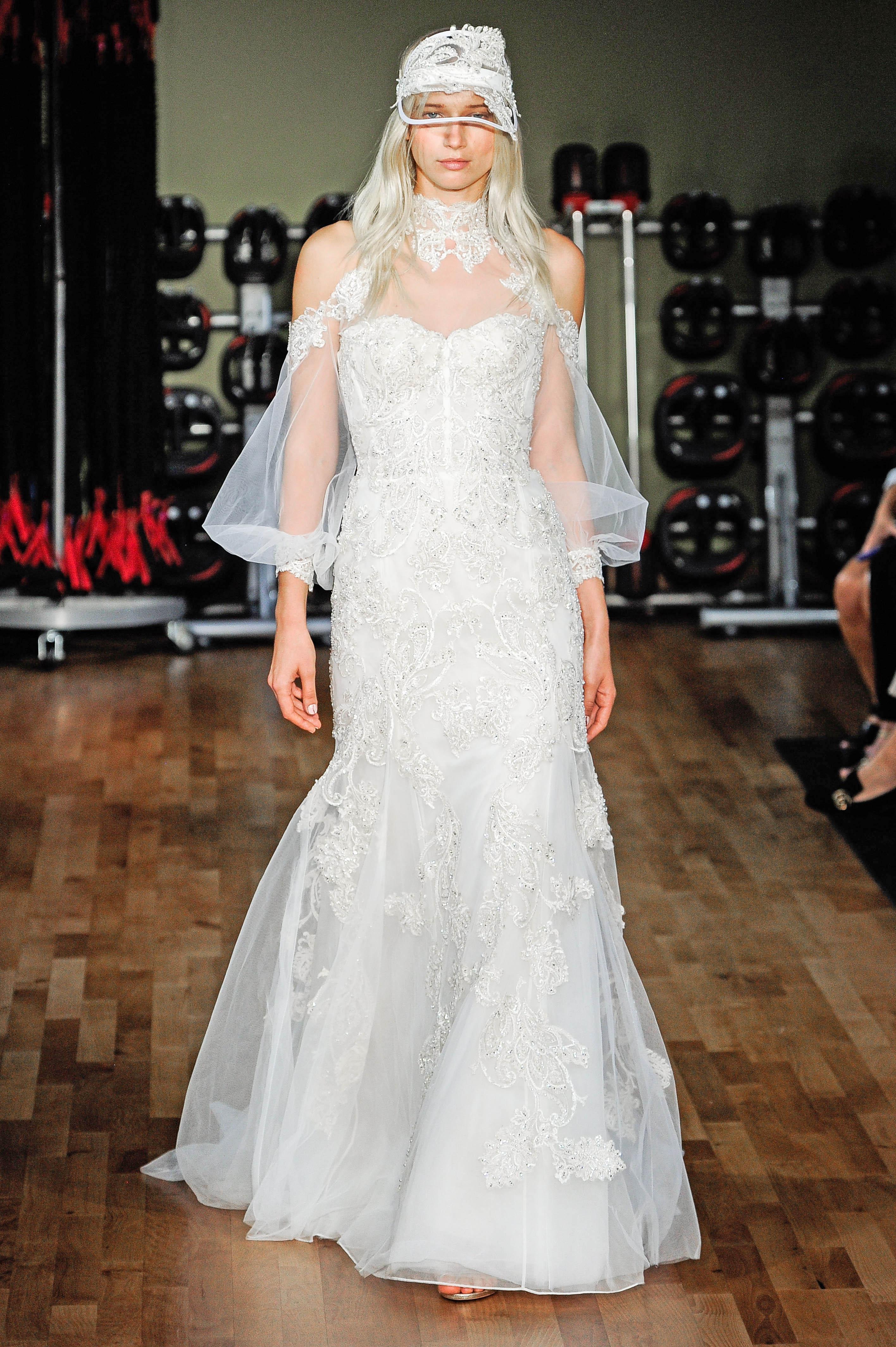 rivini by rita vinieris lace trumpet wedding dress with high illusion neckline fall 2018