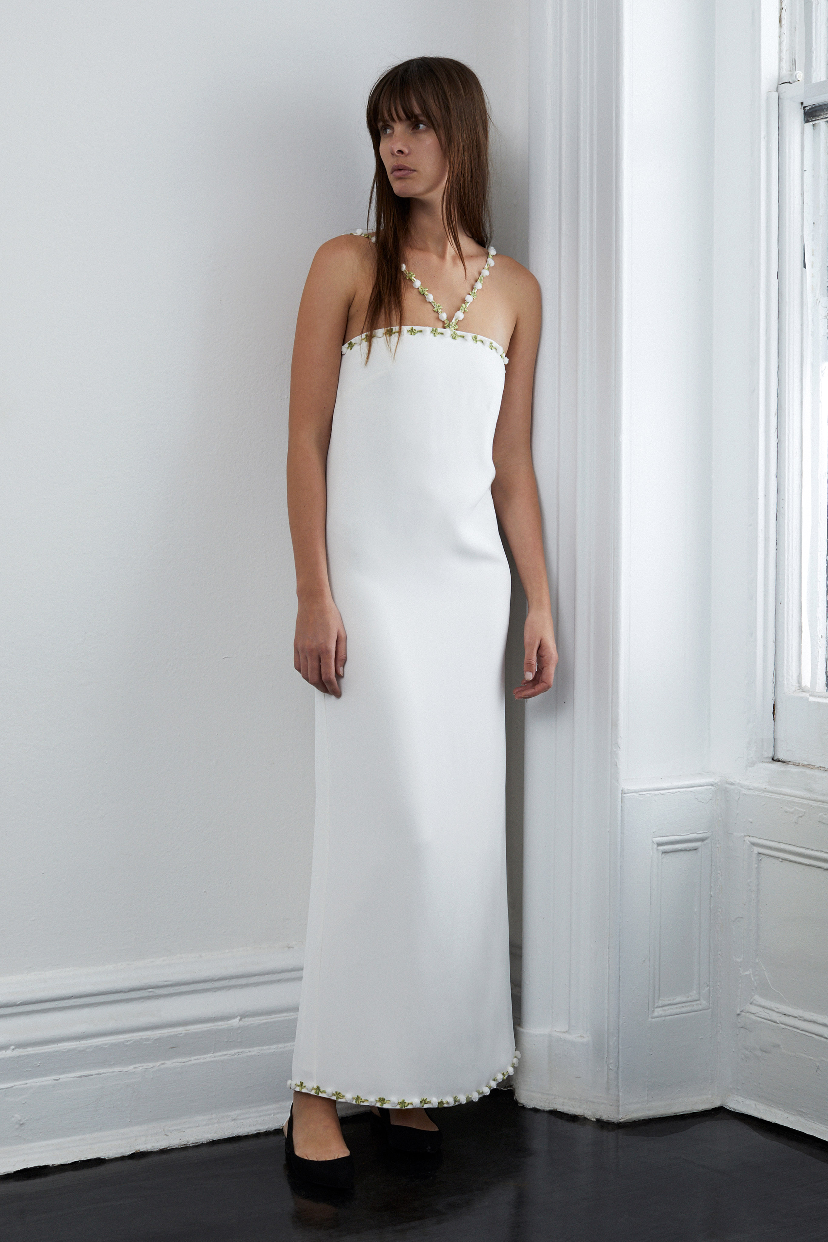 lein fall 2018 wedding dress column v straps embroidered