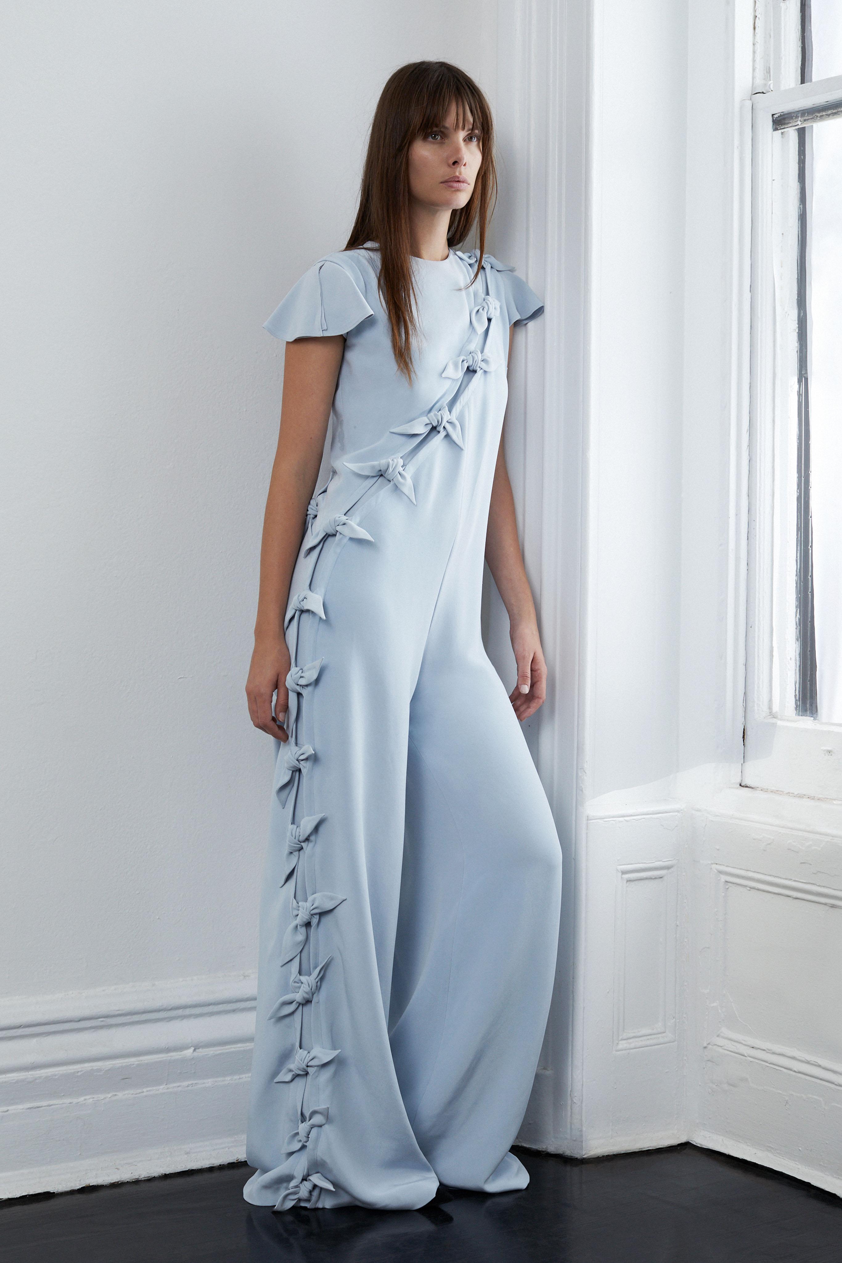 lein fall 2018 wedding dress blue jumpsuit short sleeves ties