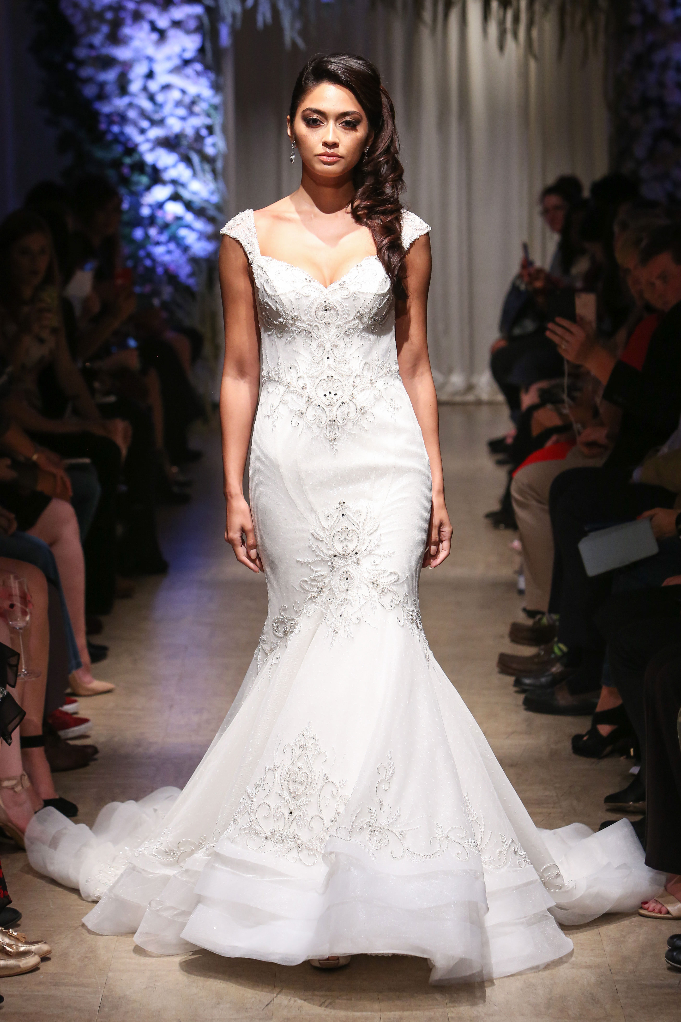 matthew christopher 2018 cap sleeve sweetheart lace beaded wedding dress