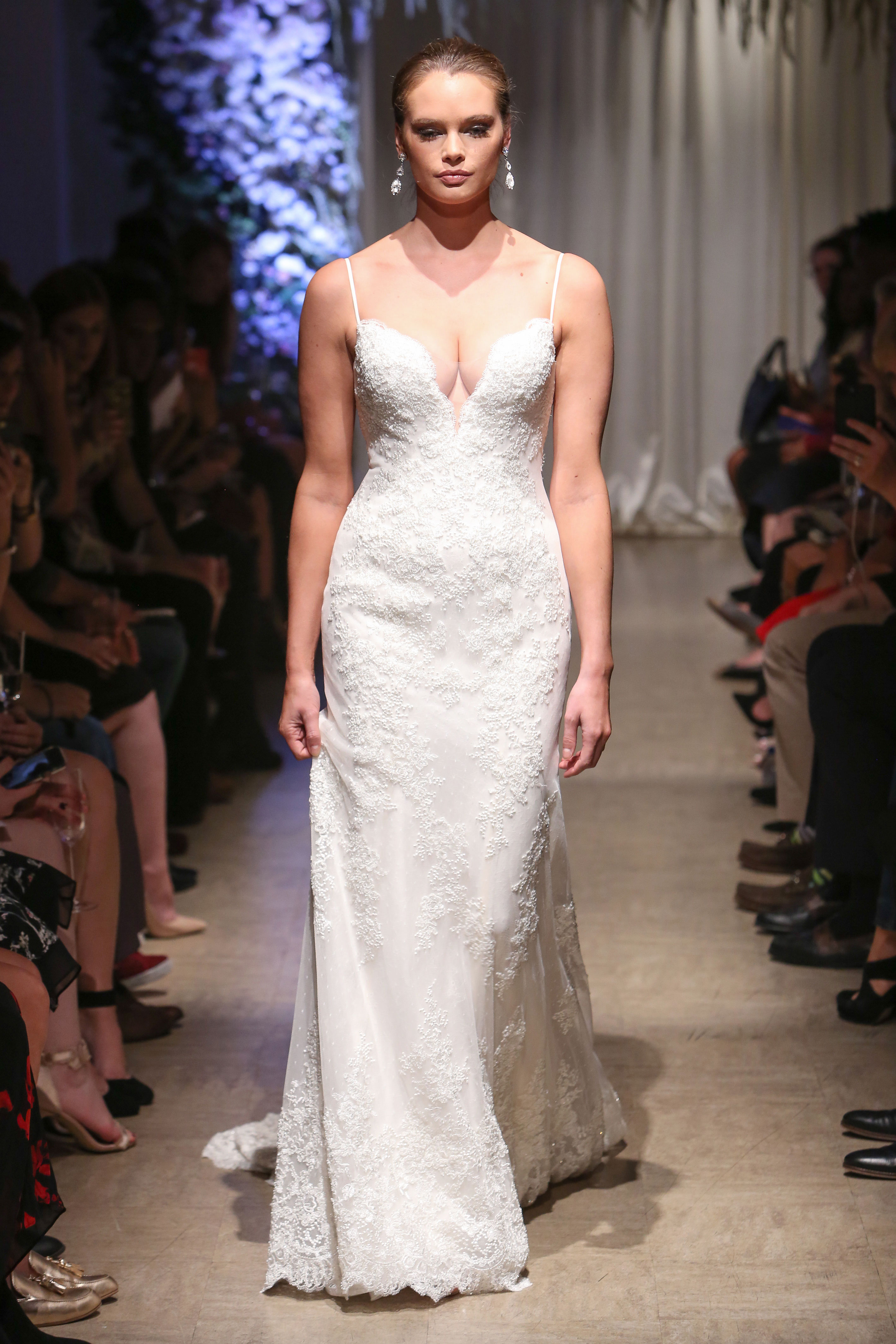 matthew christopher 2018 spaghetti strap plunging v-neck wedding dress