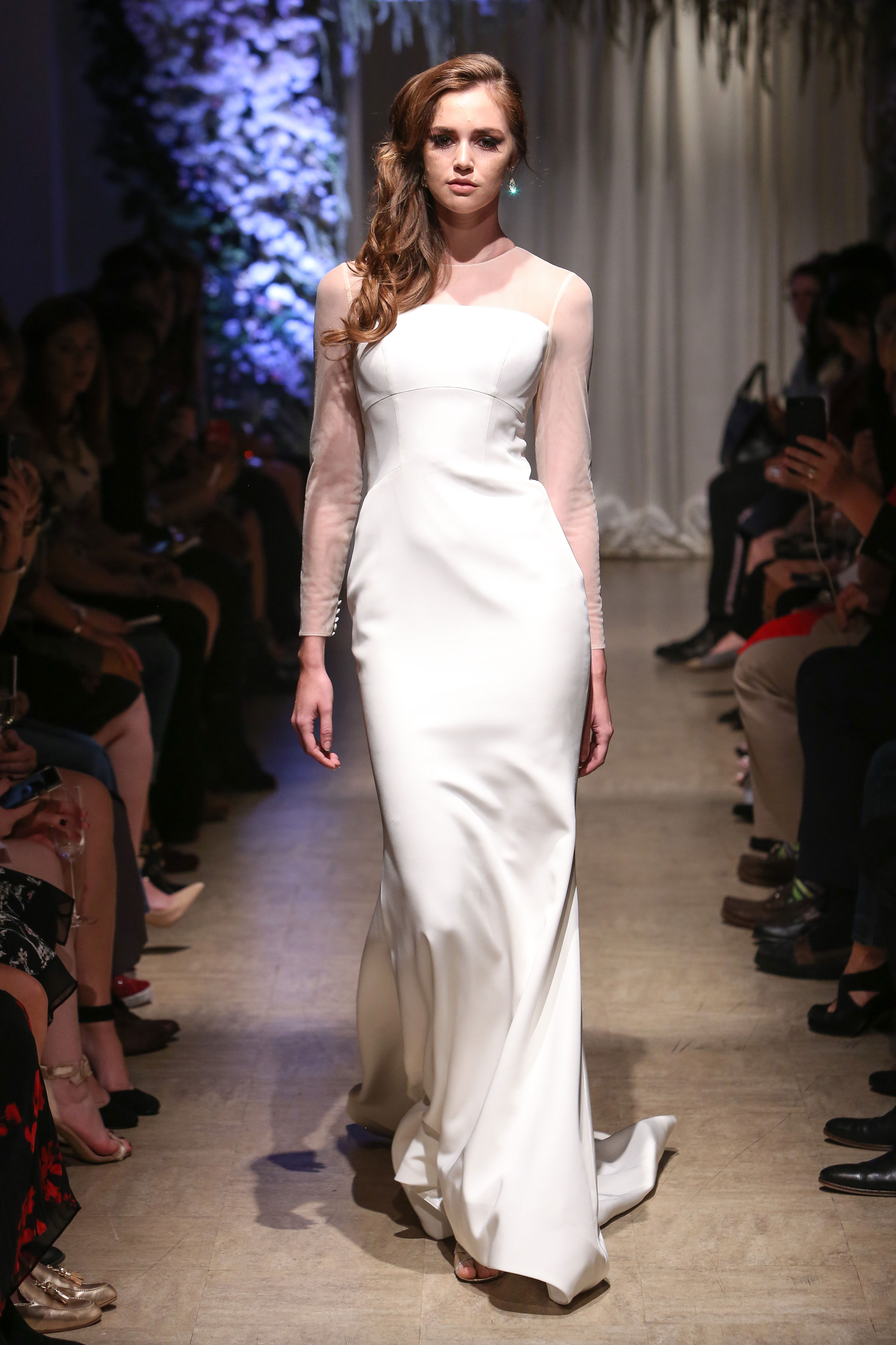 matthew christopher 2018 long sleeve sheer  wedding dress