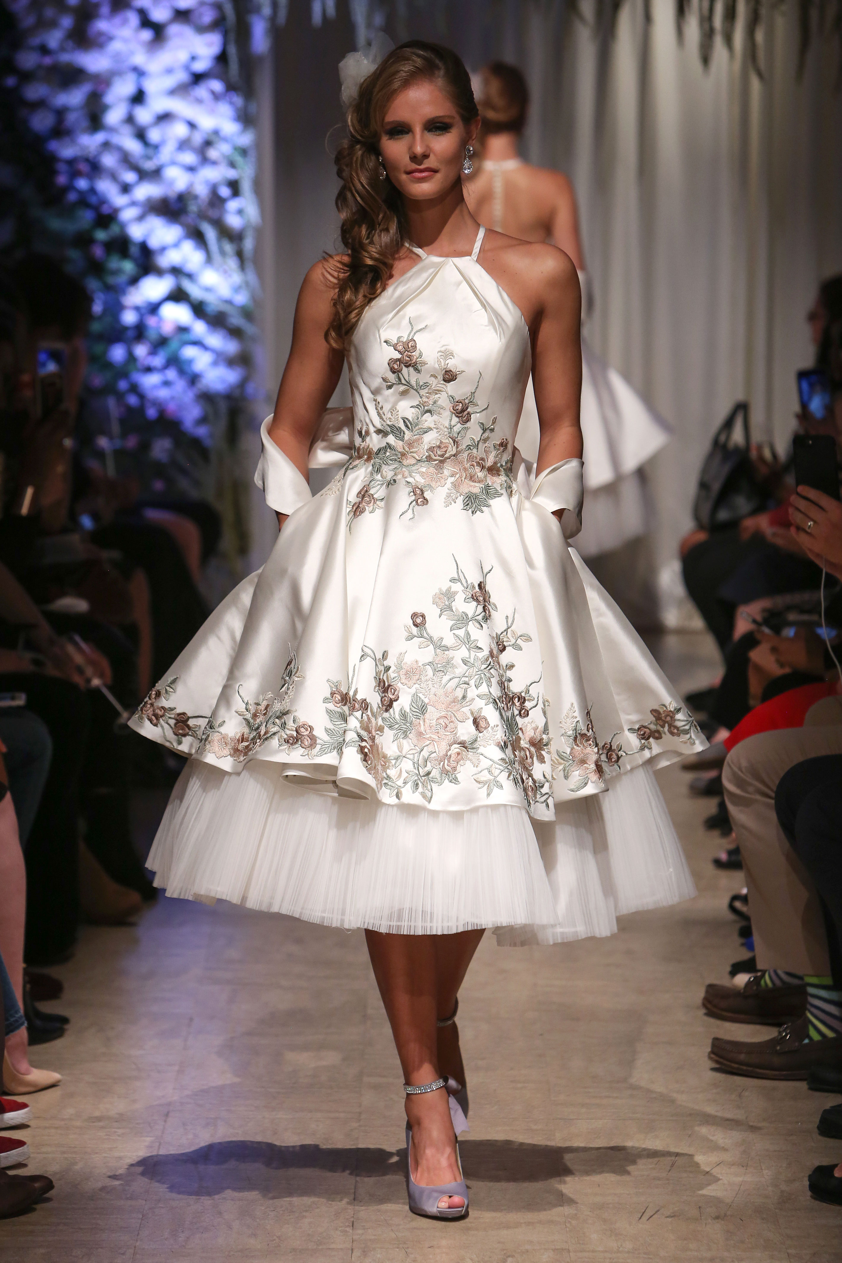 matthew christopher 2018 halter layered short floral wedding dress