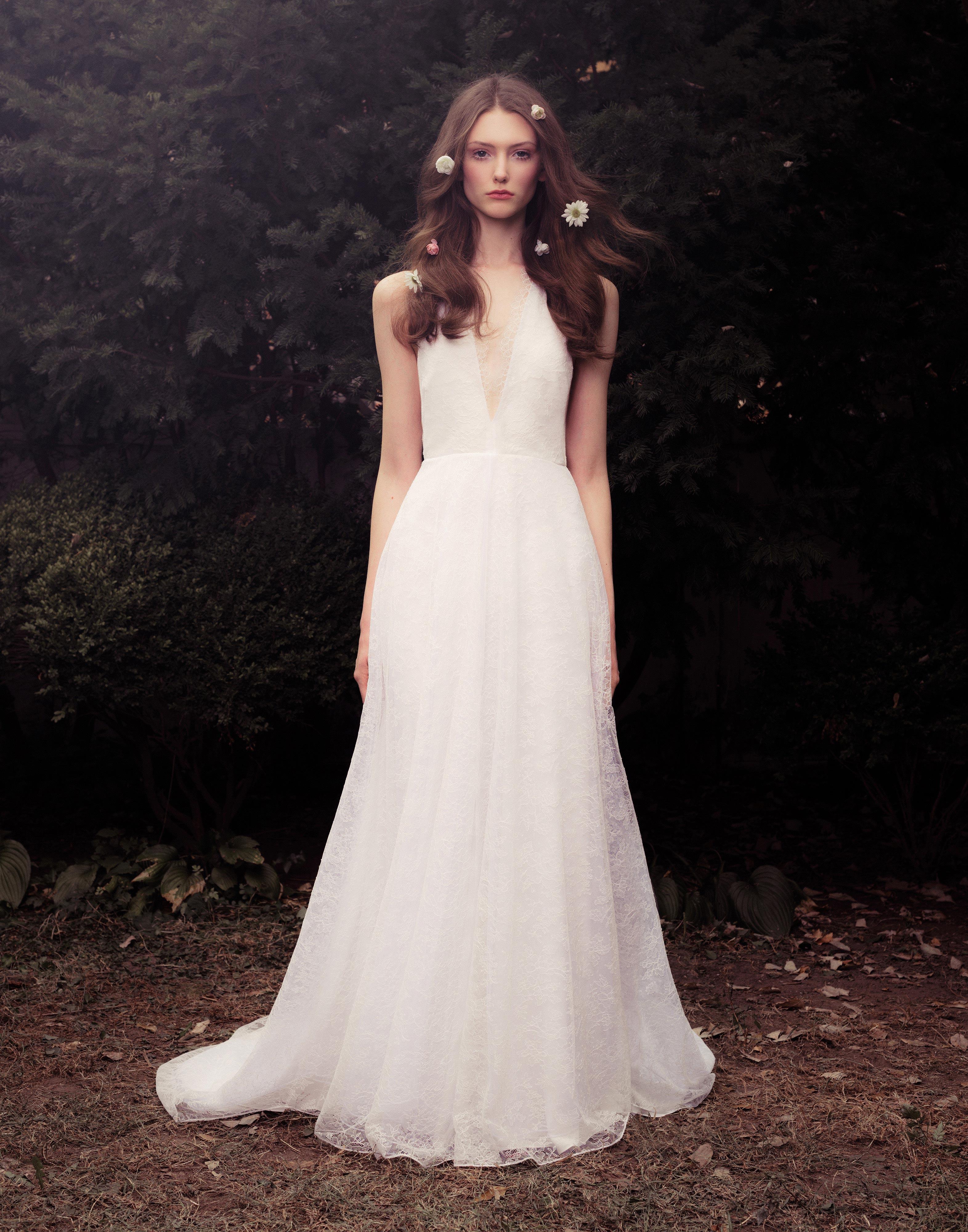 honor fall 2018  v-neck lace wedding dress