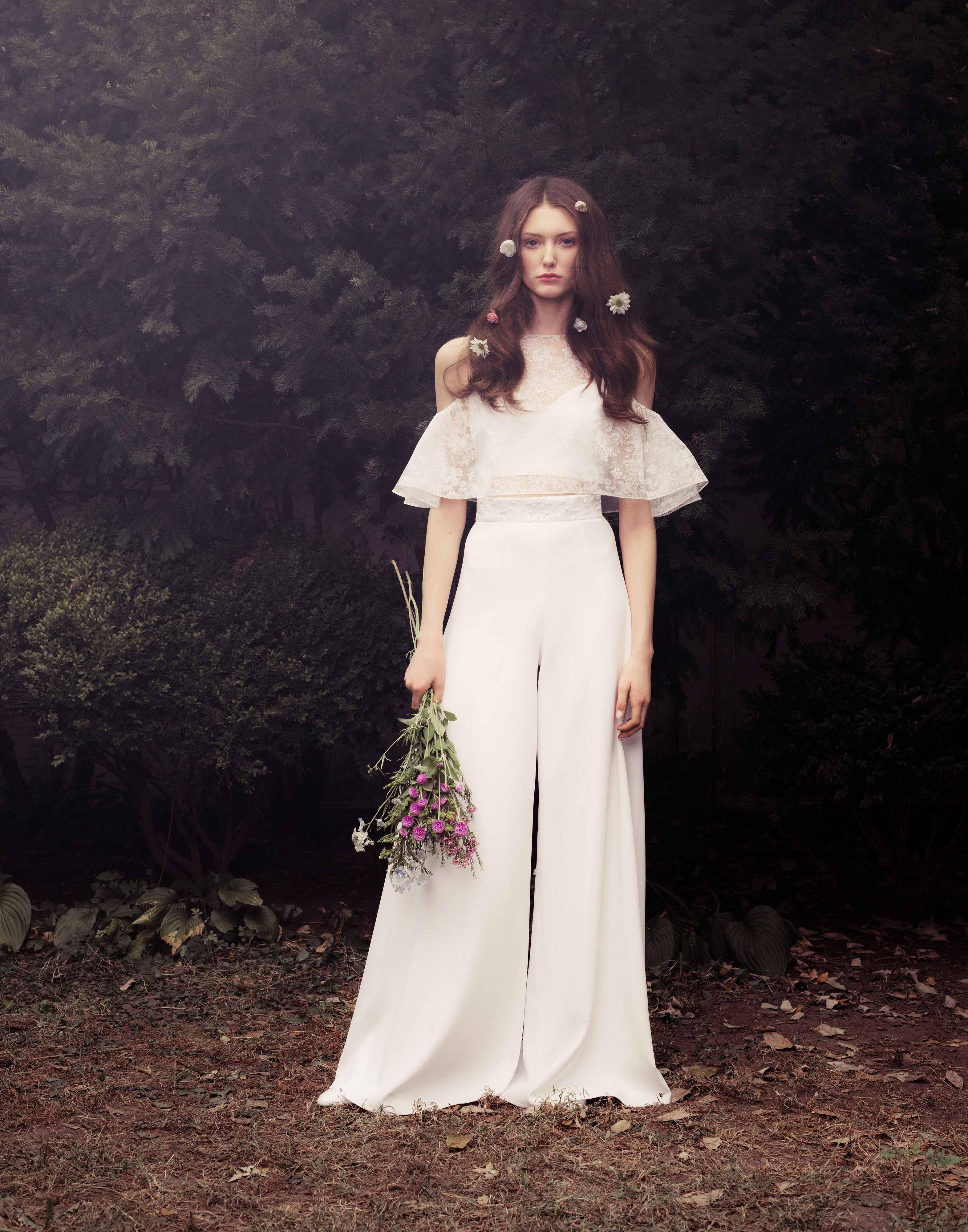 honor fall 2018 off-shoulder trouser wedding dress