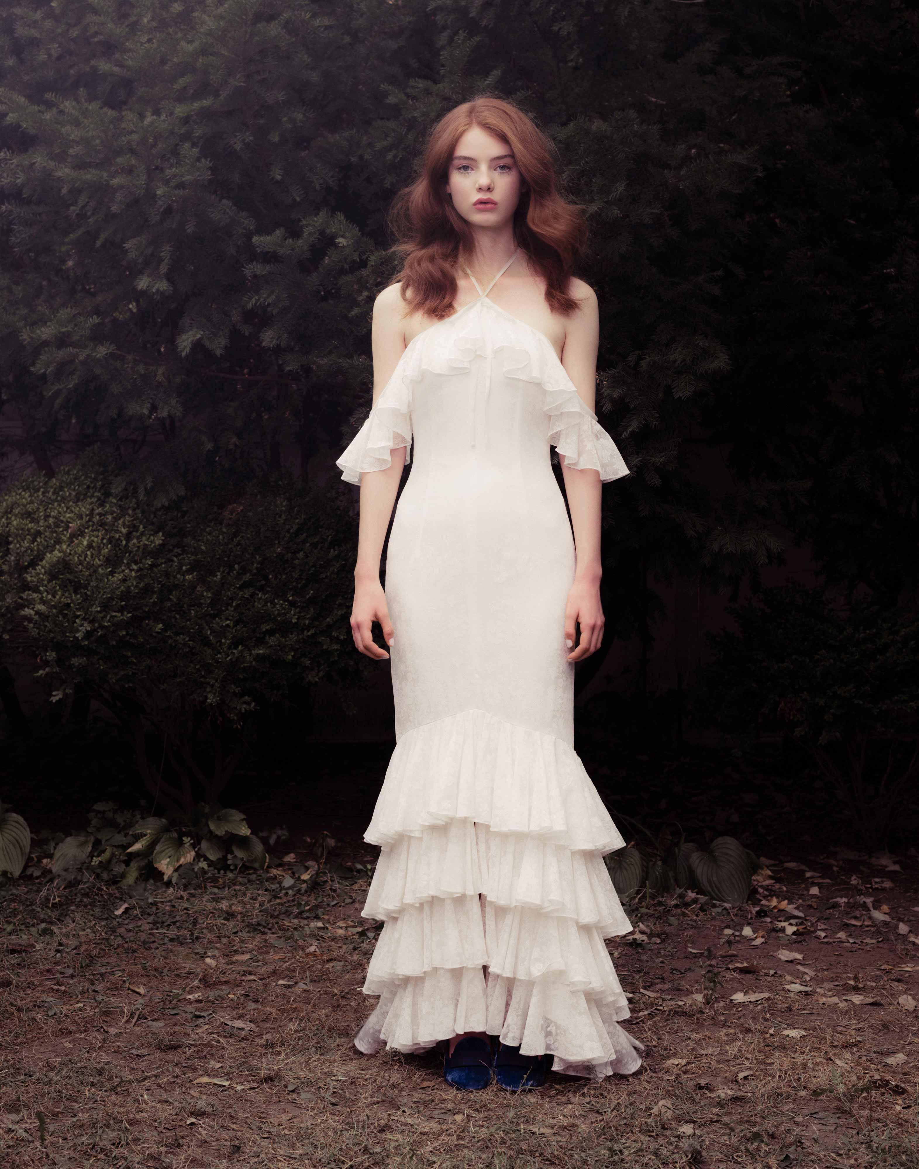 honor fall 2018 halter off-shoulder tiered wedding dress