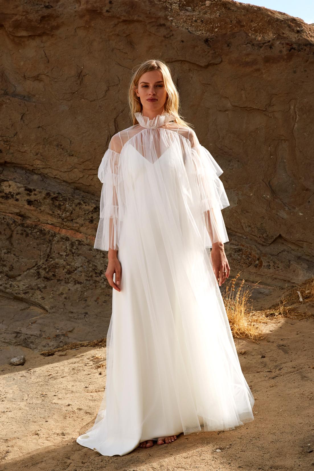 savannah miller fall 2018 high collar chiffon overlay wedding dress