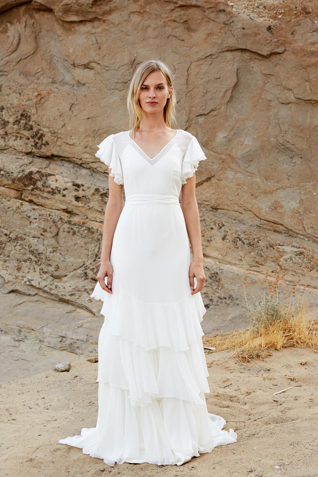savannah miller fall 2018 v-neck flutter sleeve wedding dress