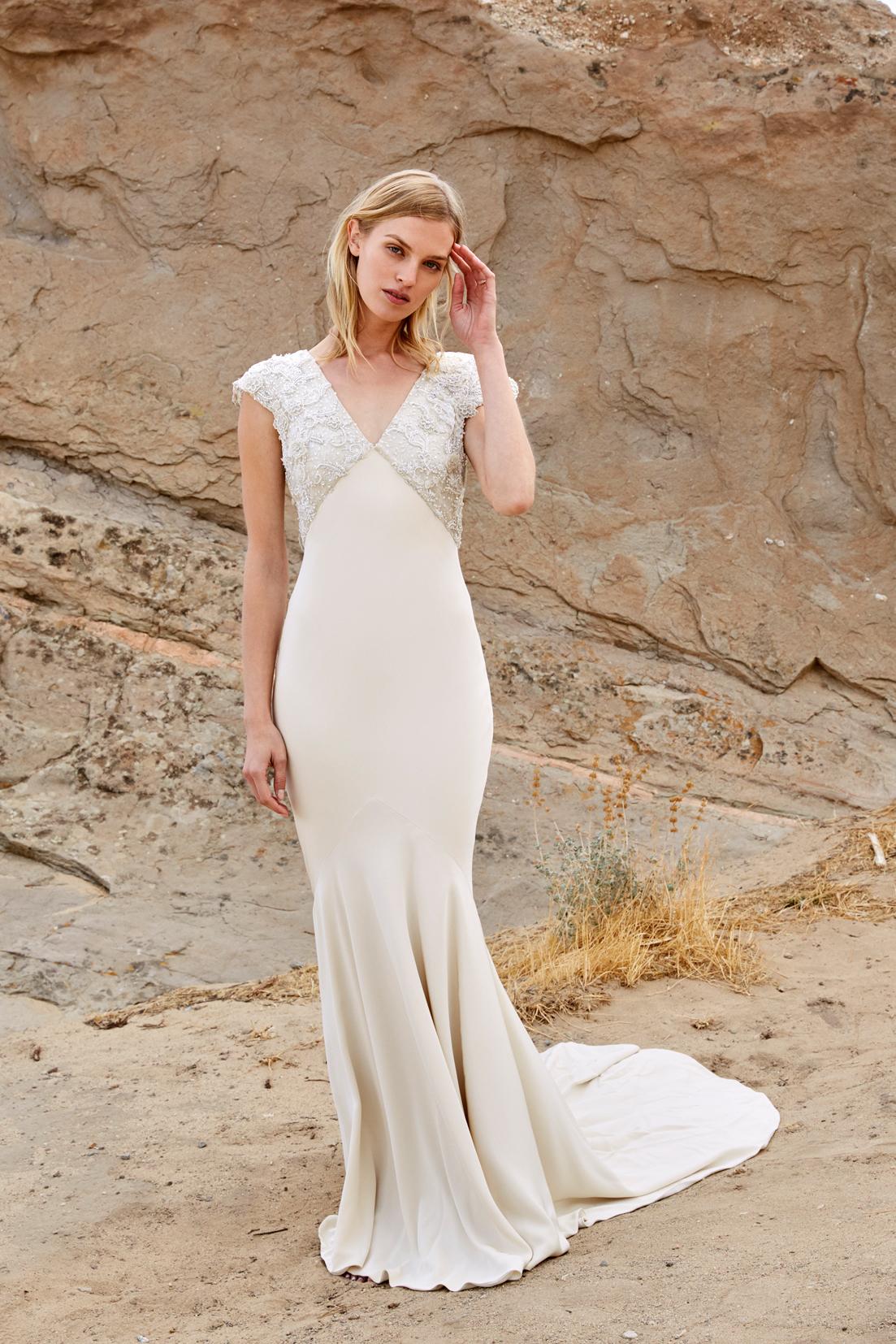 savannah miller fall 2018 v-neck beaded wedding dress