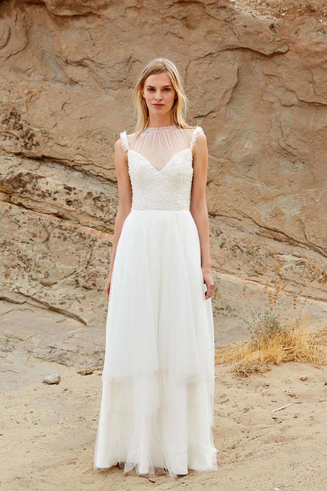 savannah miller fall 2018 spaghetti strap chiffon high-neck wedding dress