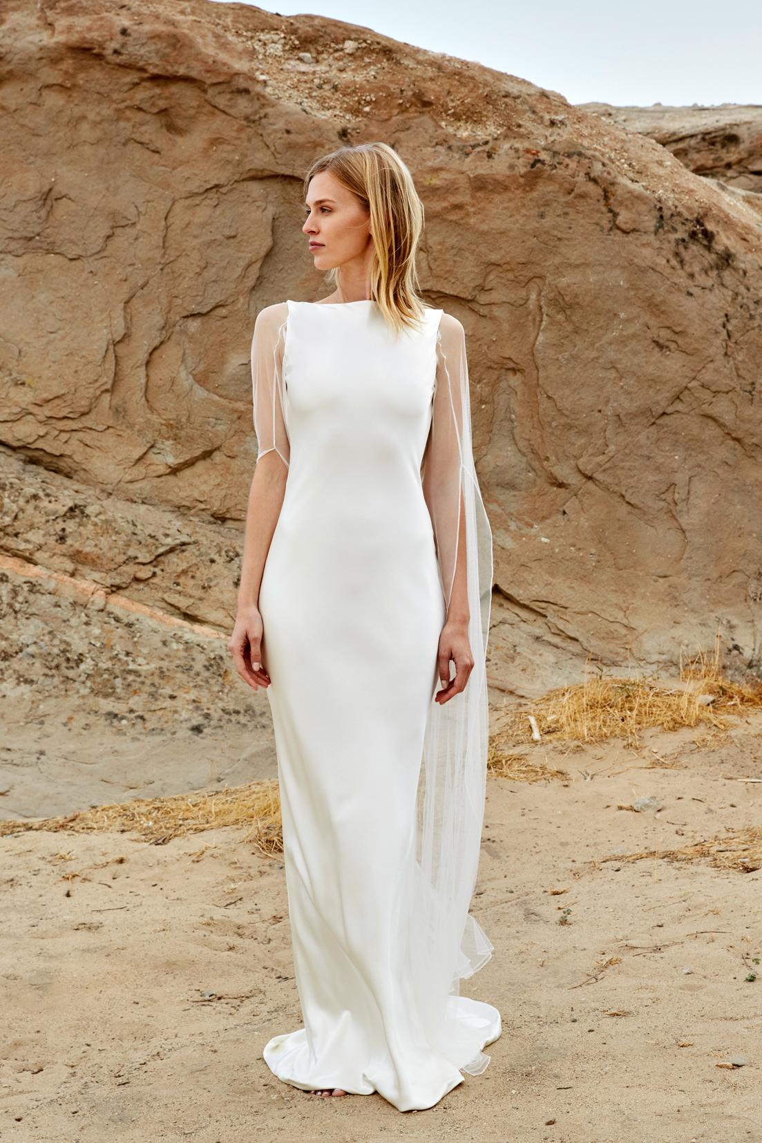 savannah miller fall 2018 boat neck cape wedding dress