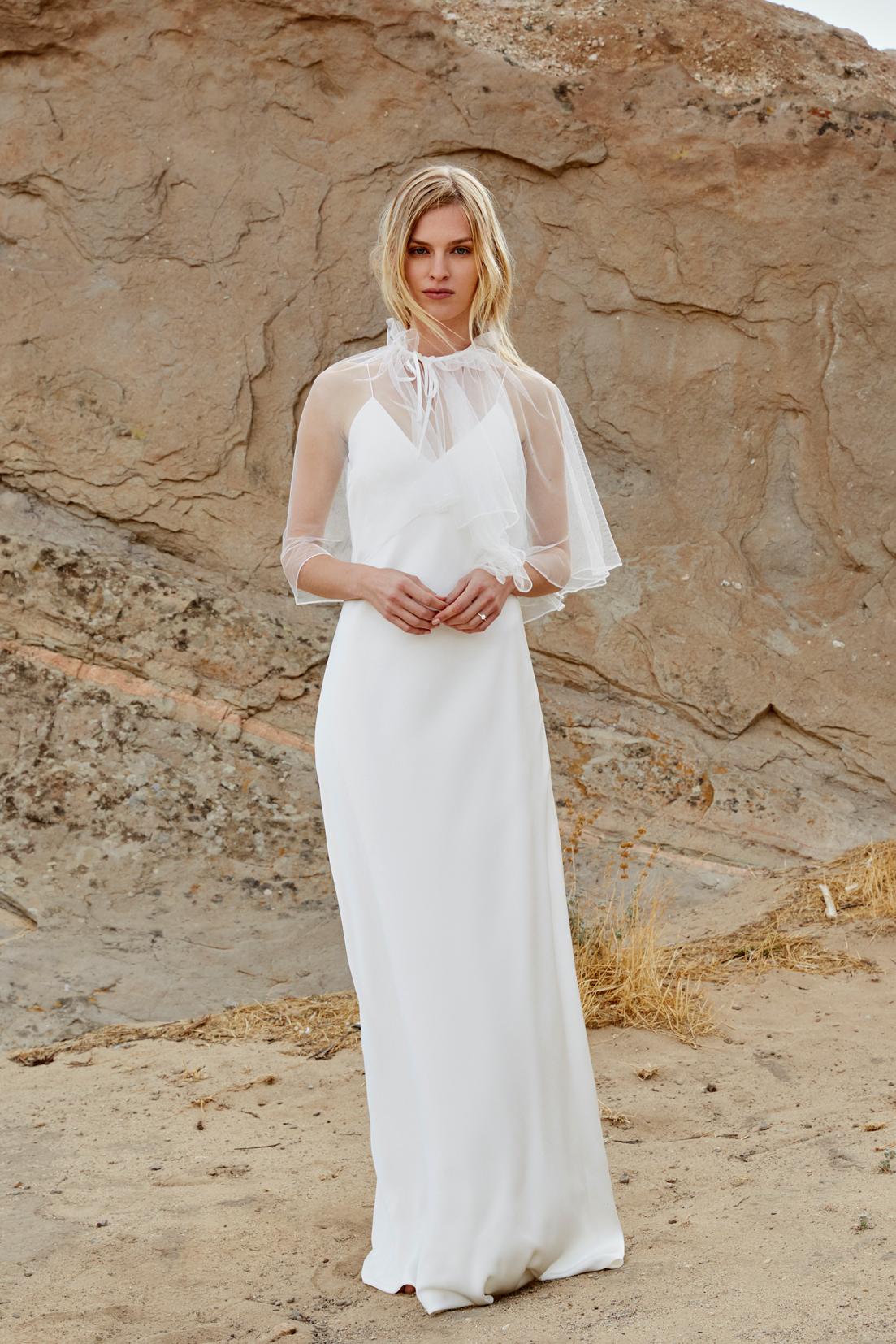savannah miller fall 2018 chiffon cape spaghetti strap wedding dress