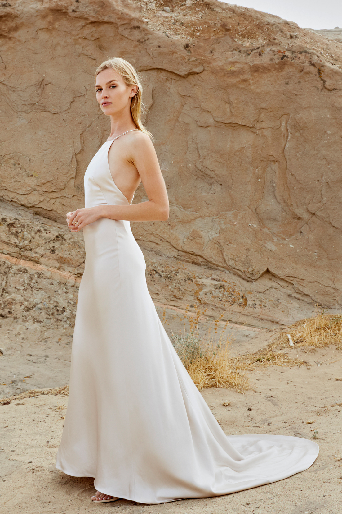 savannah miller fall 2018 halter open back wedding dress